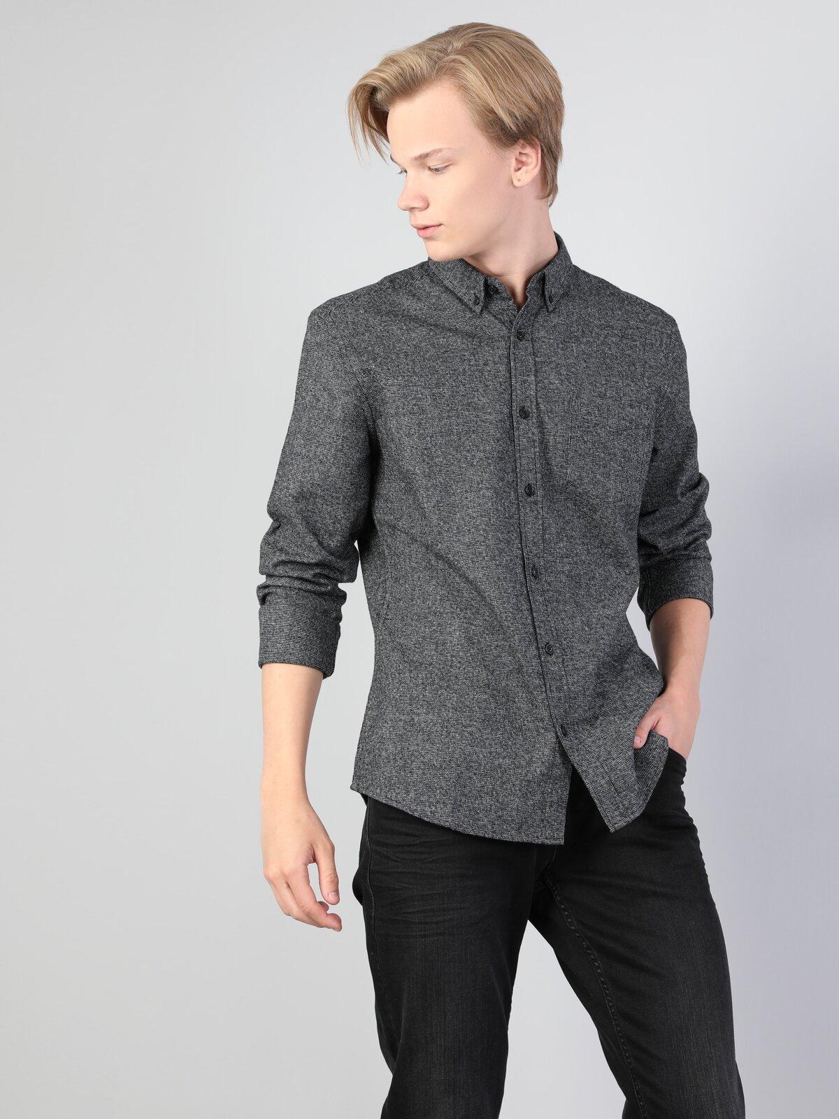 Slim Fit Shirt Neck Erkek Antrasit Uzun Kol Gömlek