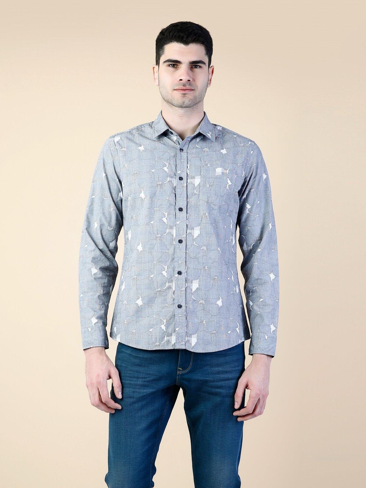 Modern Fit  Erkek Gri Uzun Kol Gömlek