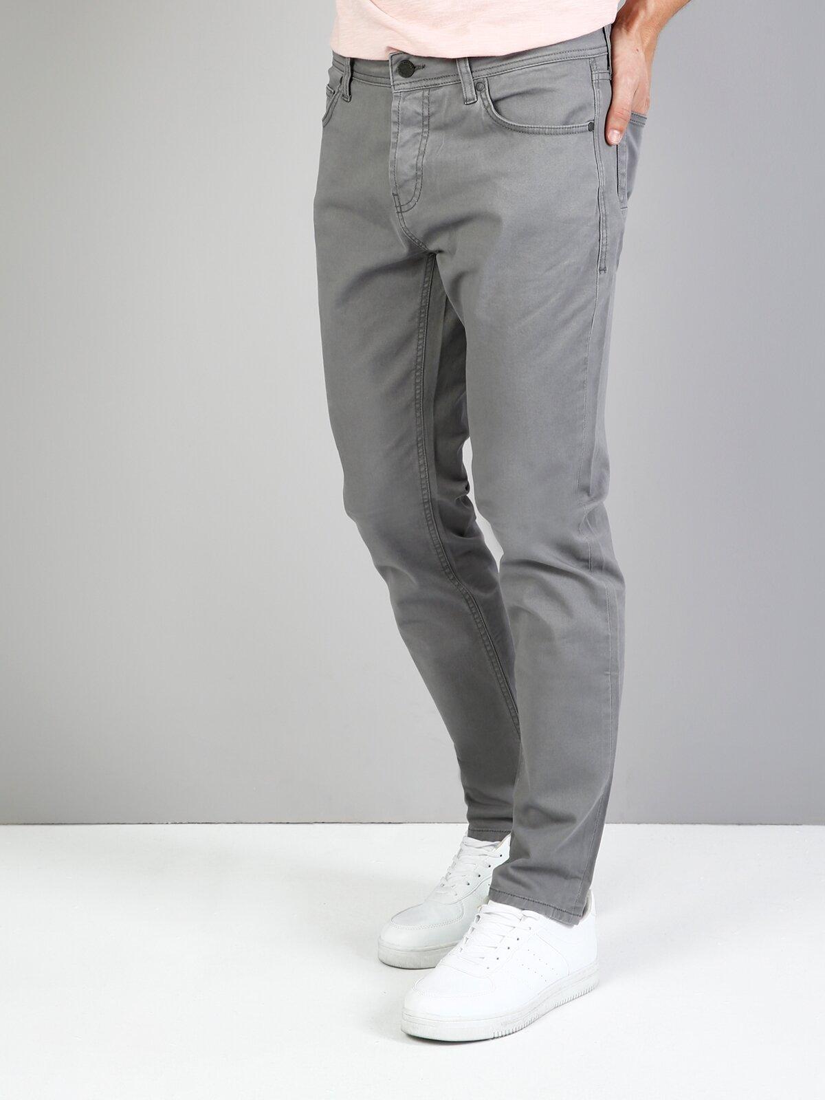 Straight Fit Orta Bel Düz Paça Erkek Gri Pantolon