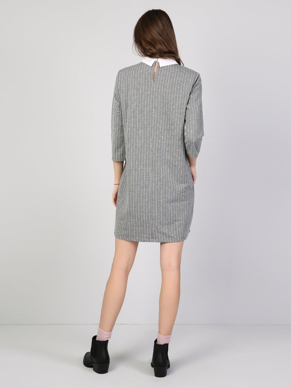 Regular Fit  Kadın Gri Melanj Elbise