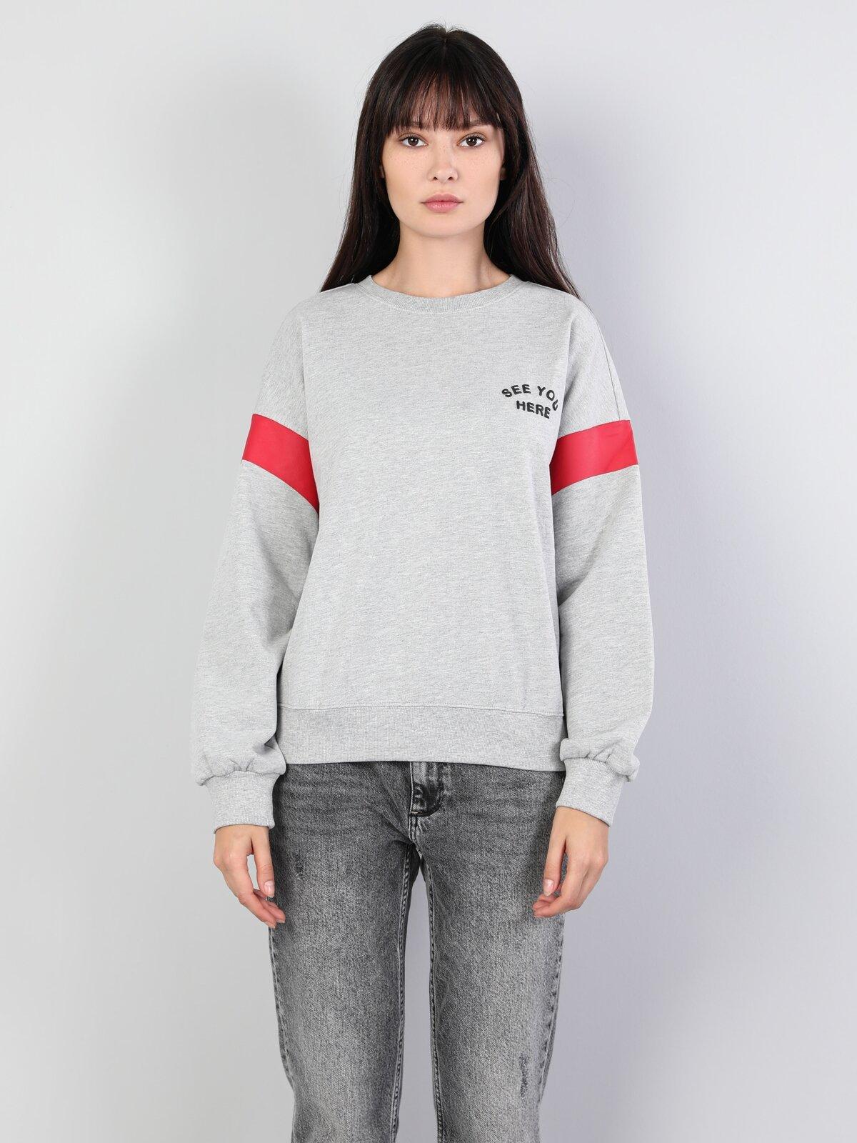 Regular Fit  Kadın Gri Melanj Sweatshirt