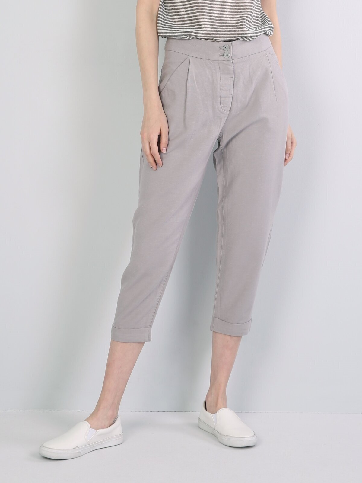 Regular Fit Düşük Bel Crop Leg  Kadın Açık Gri Pantolon