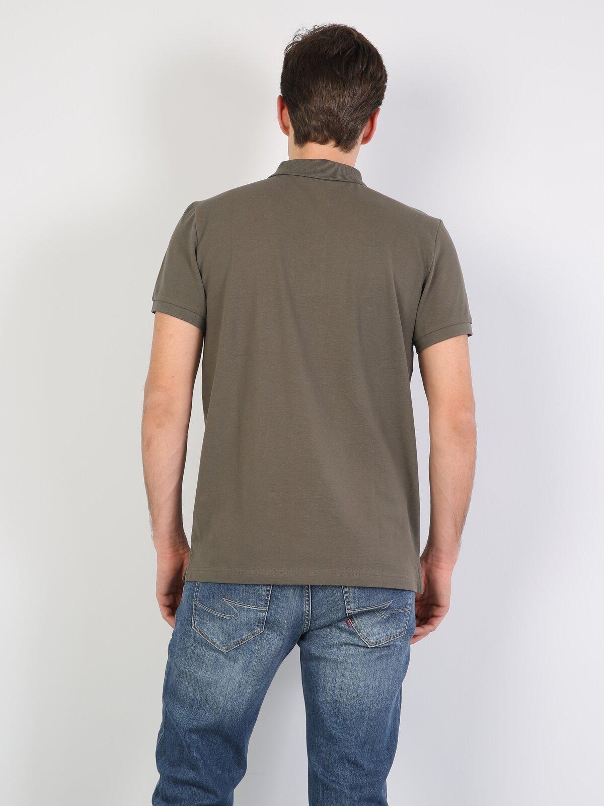Polo Yaka Haki Kısa Kol Tişört