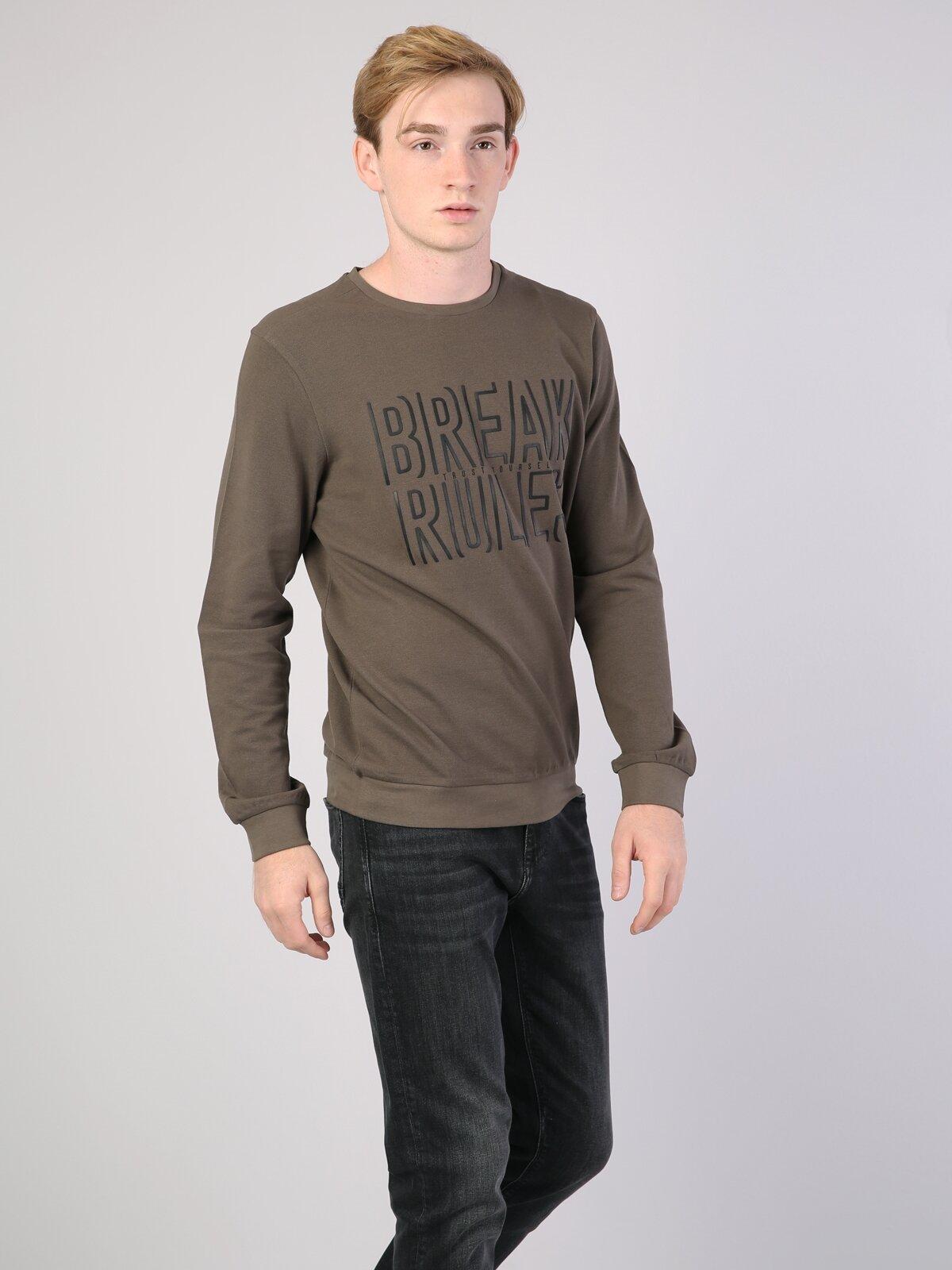 Slim Fit Yeşil Erkek Sweatshirt