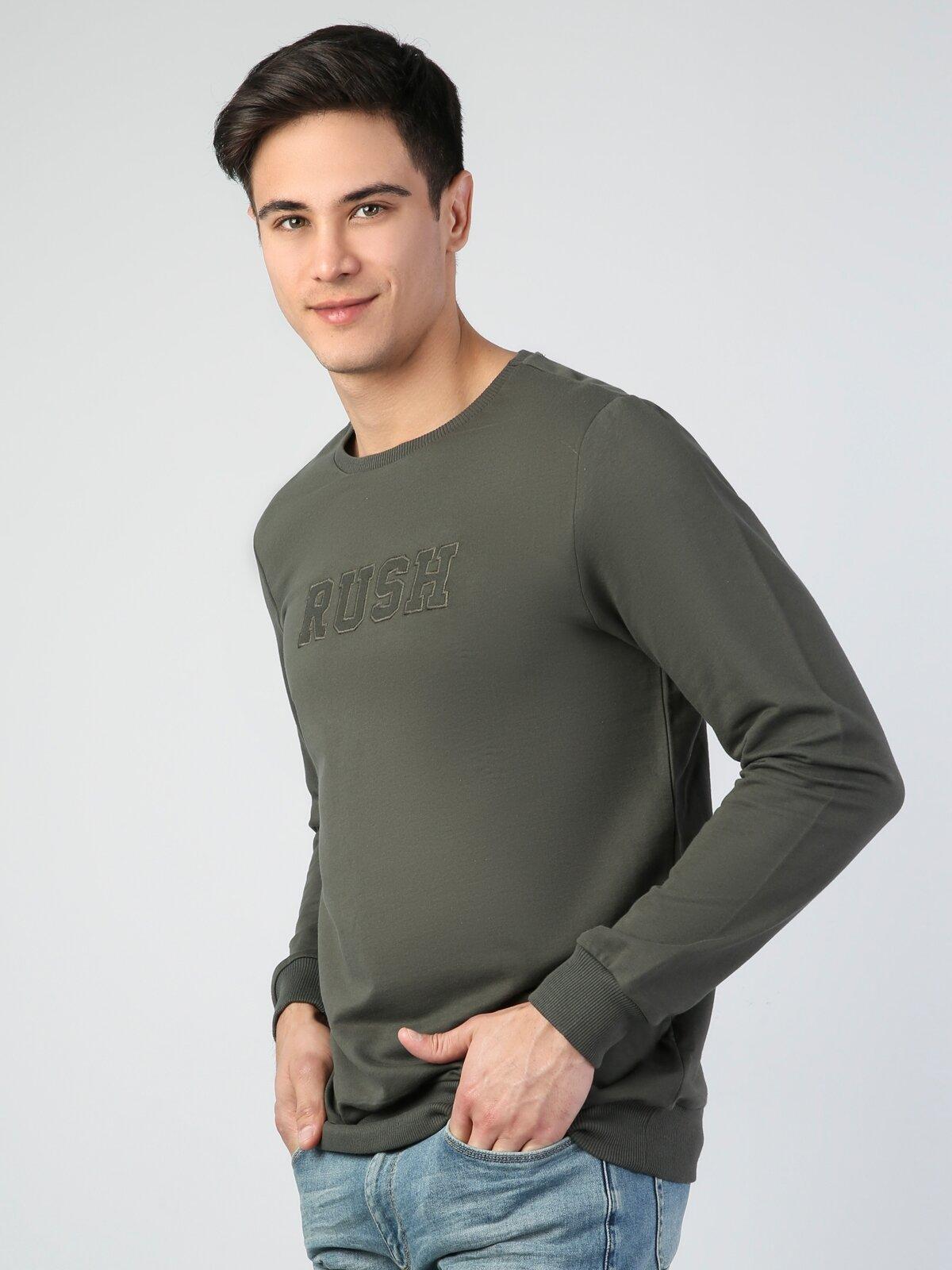 Regular Fit  Erkek Haki Sweatshirt