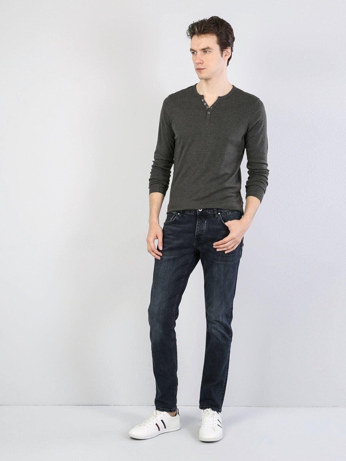 Slim Fit Placket Neck Erkek Haki Tshirt U.Kol