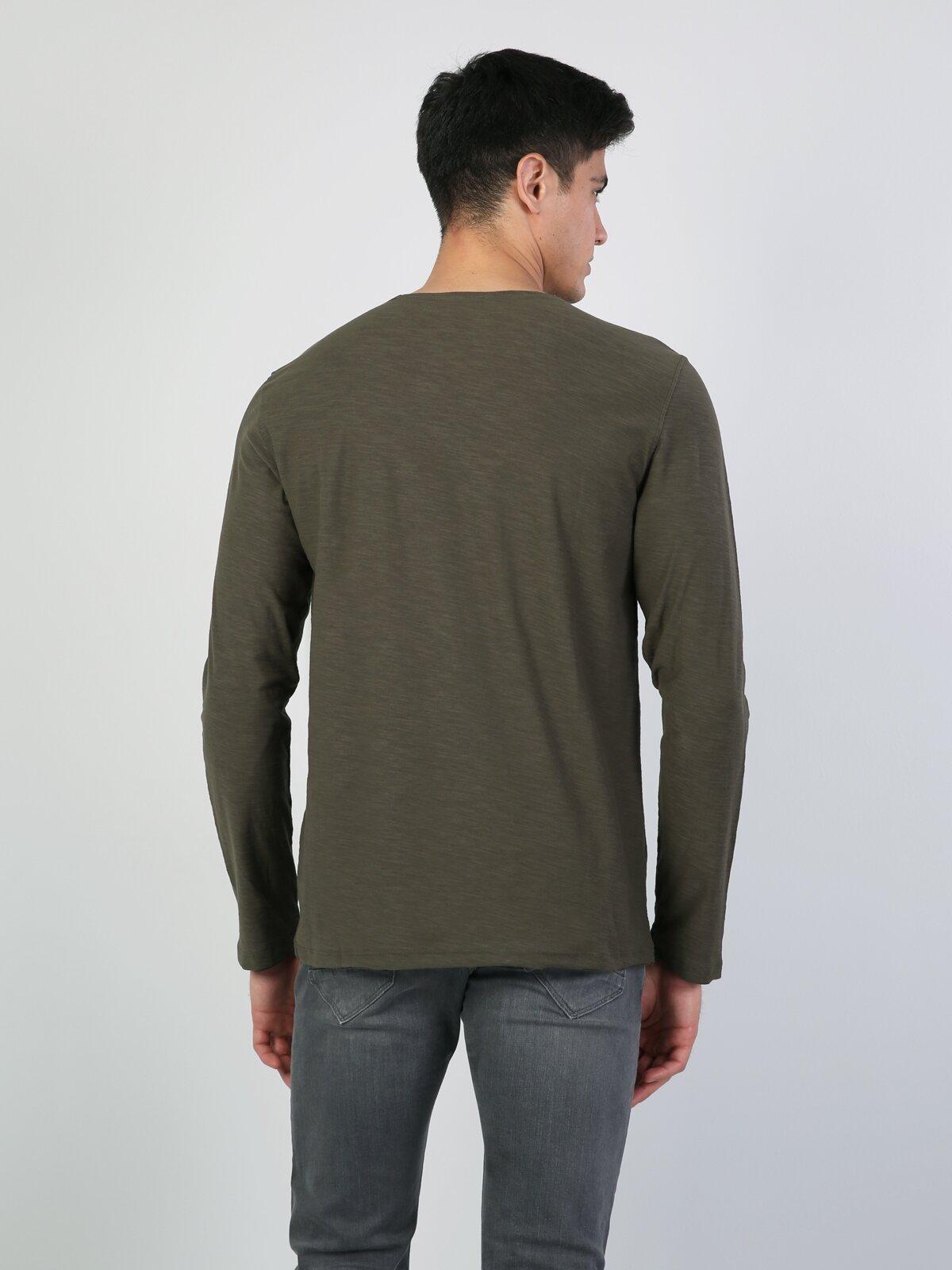 Haki Yuvarlak Yaka Uzun Kol Tişört