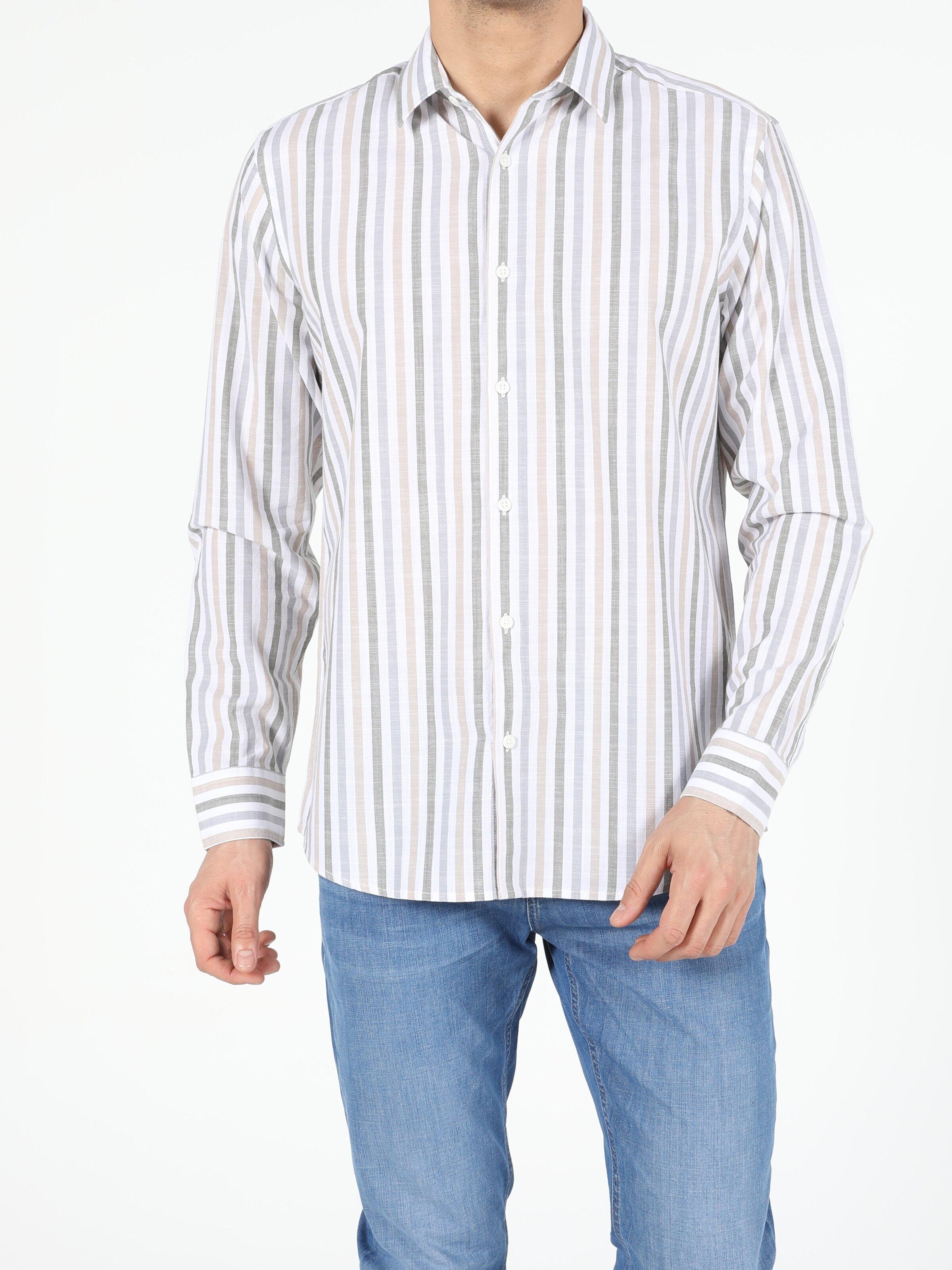 Haki Regular Fit Shirt Neck  Erkek Uzun Kol Gömlek