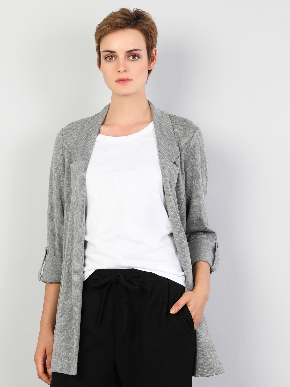 Regular Fit  Kadın Gri Melanj Ceket