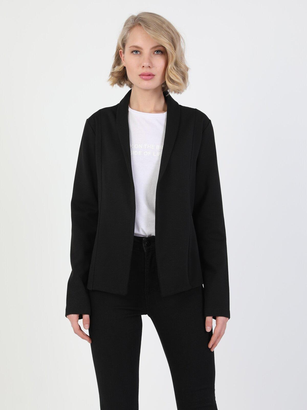 Slim Fit Siyah Kadın Ceket