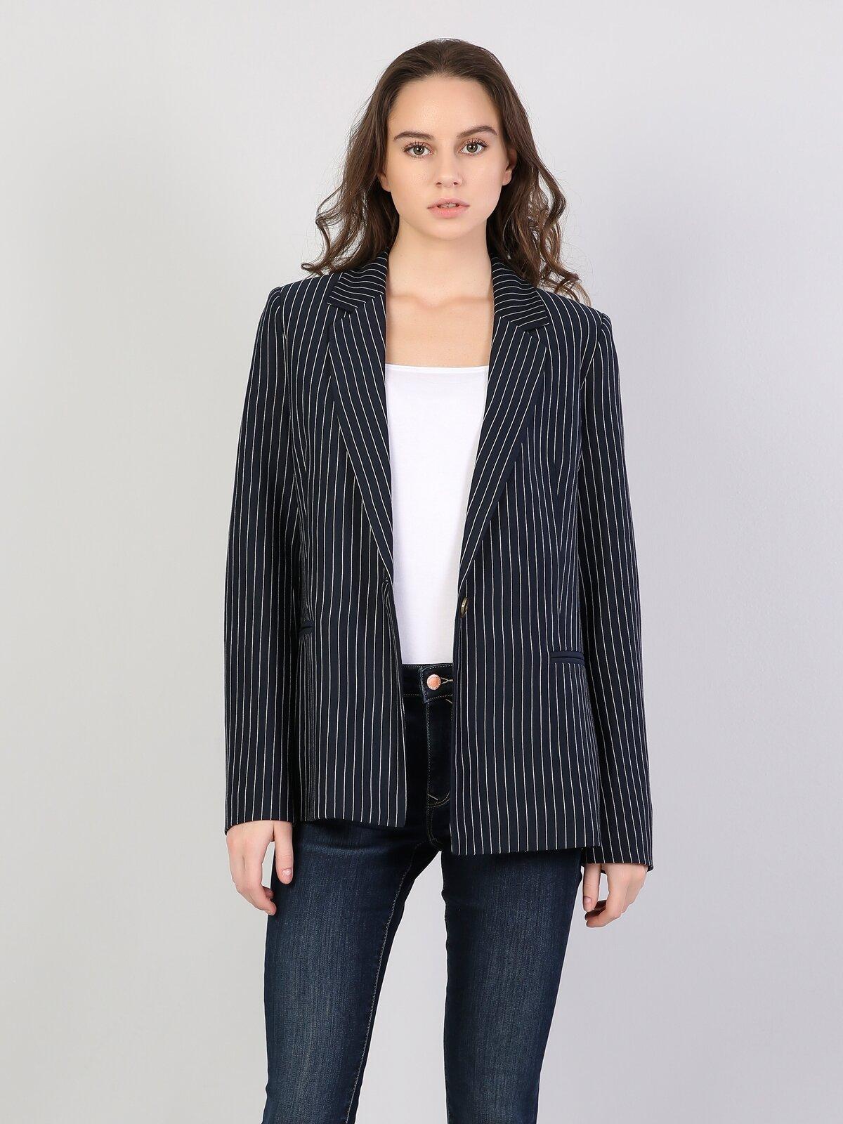 Regular Fit Lacivert Çizgili Kadın Ceket