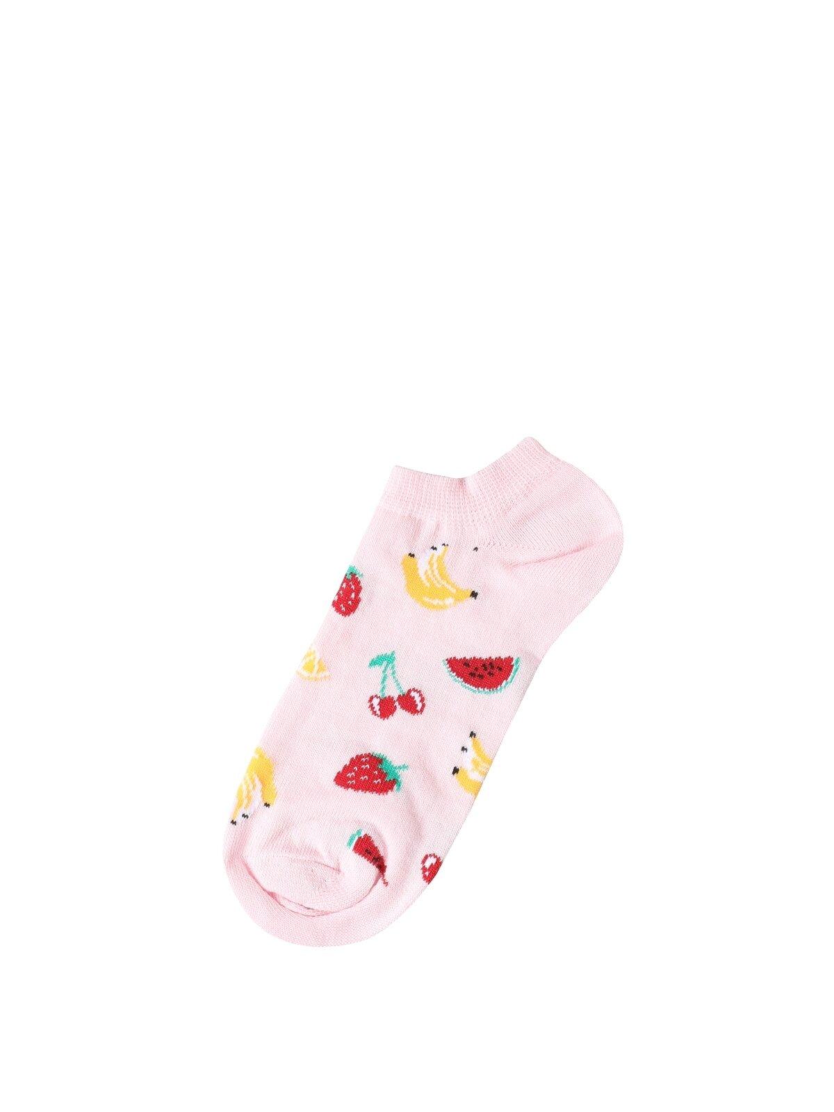 Baskılı Pembe Kadın Çorap