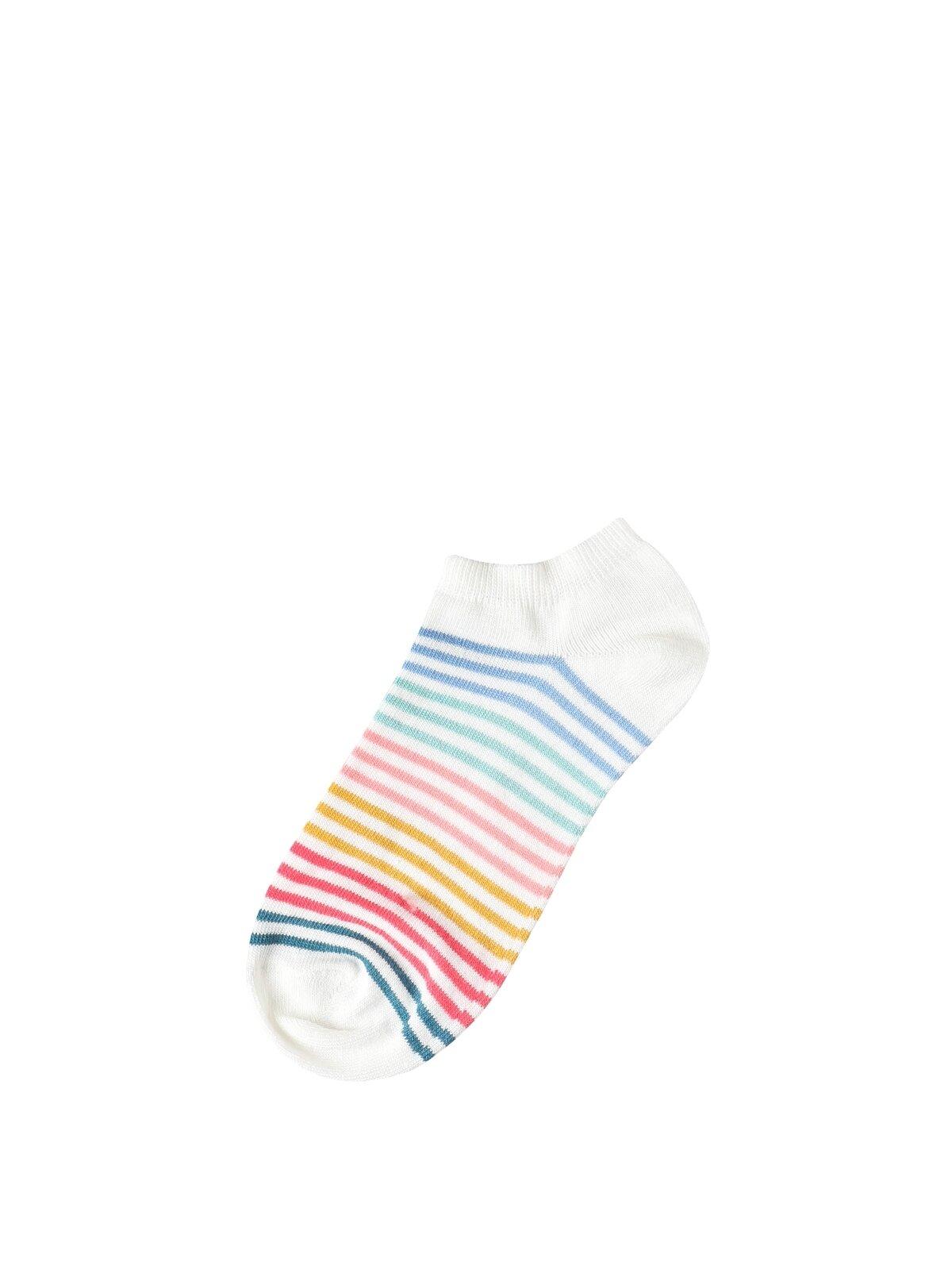 Çizgili Çok Renkli Kadın Çorap