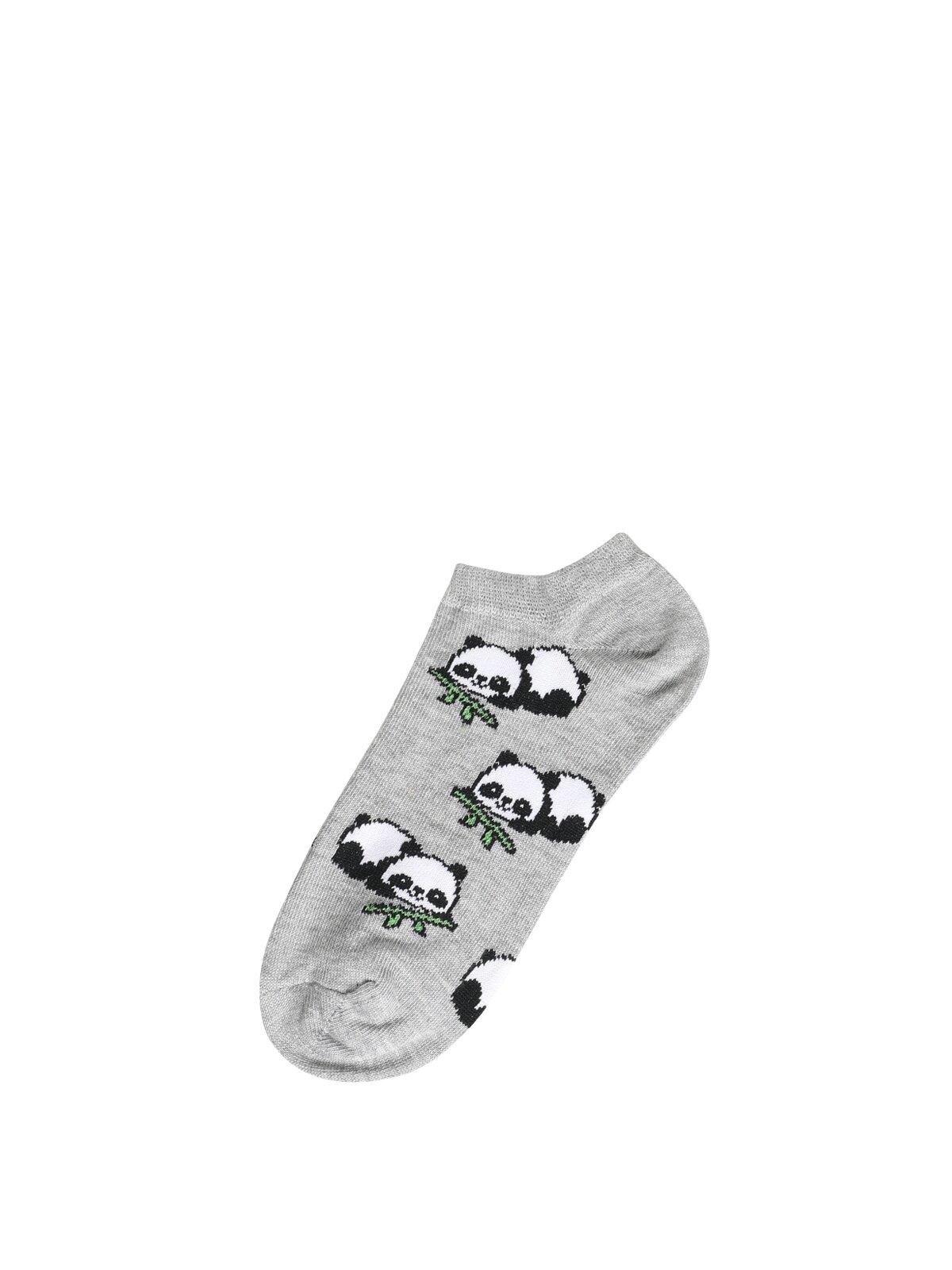 Baskılı Gri Kadın Çorap