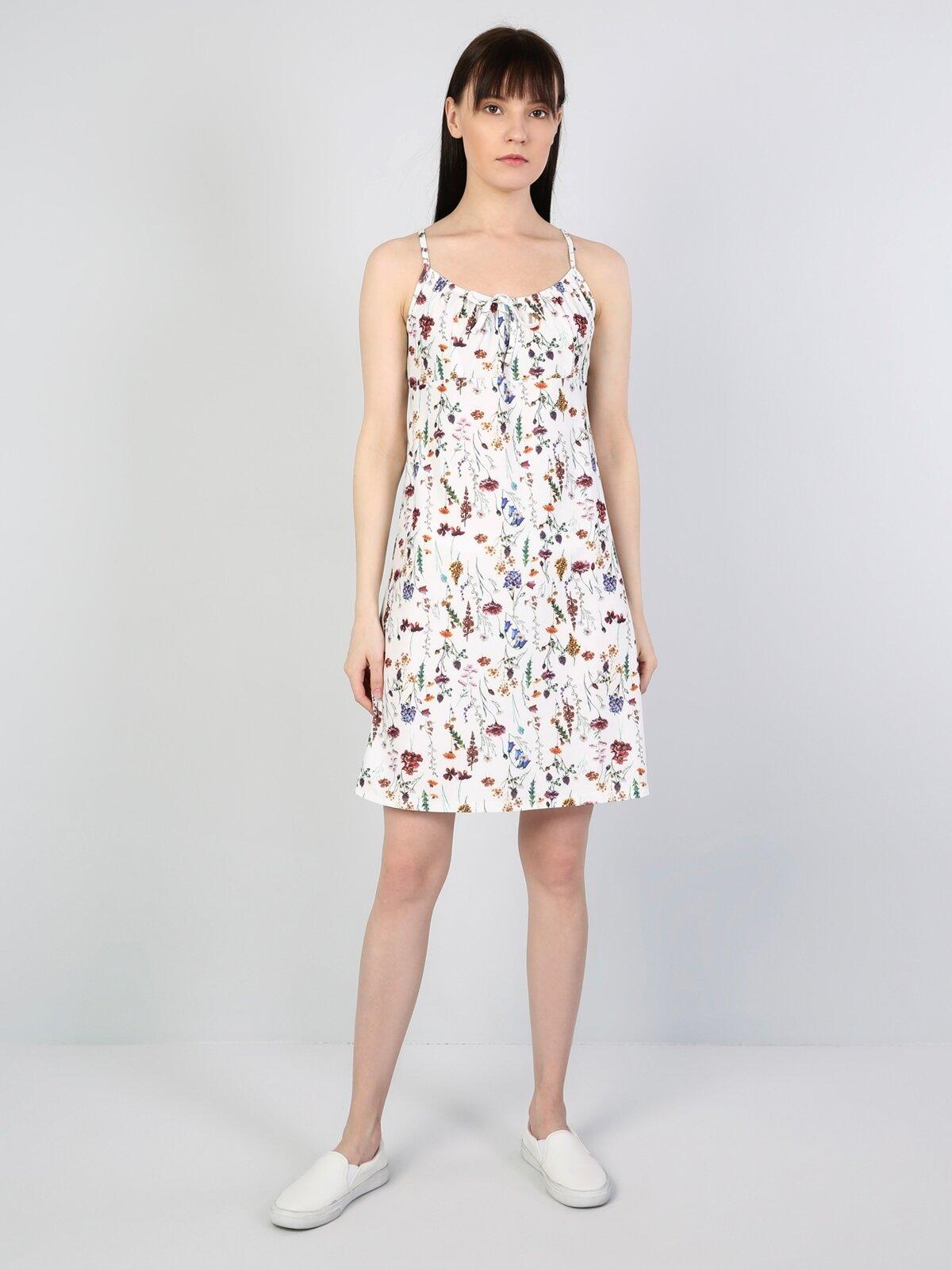 Normal Kesim Çiçek Desenli Beyaz Kadın Elbise