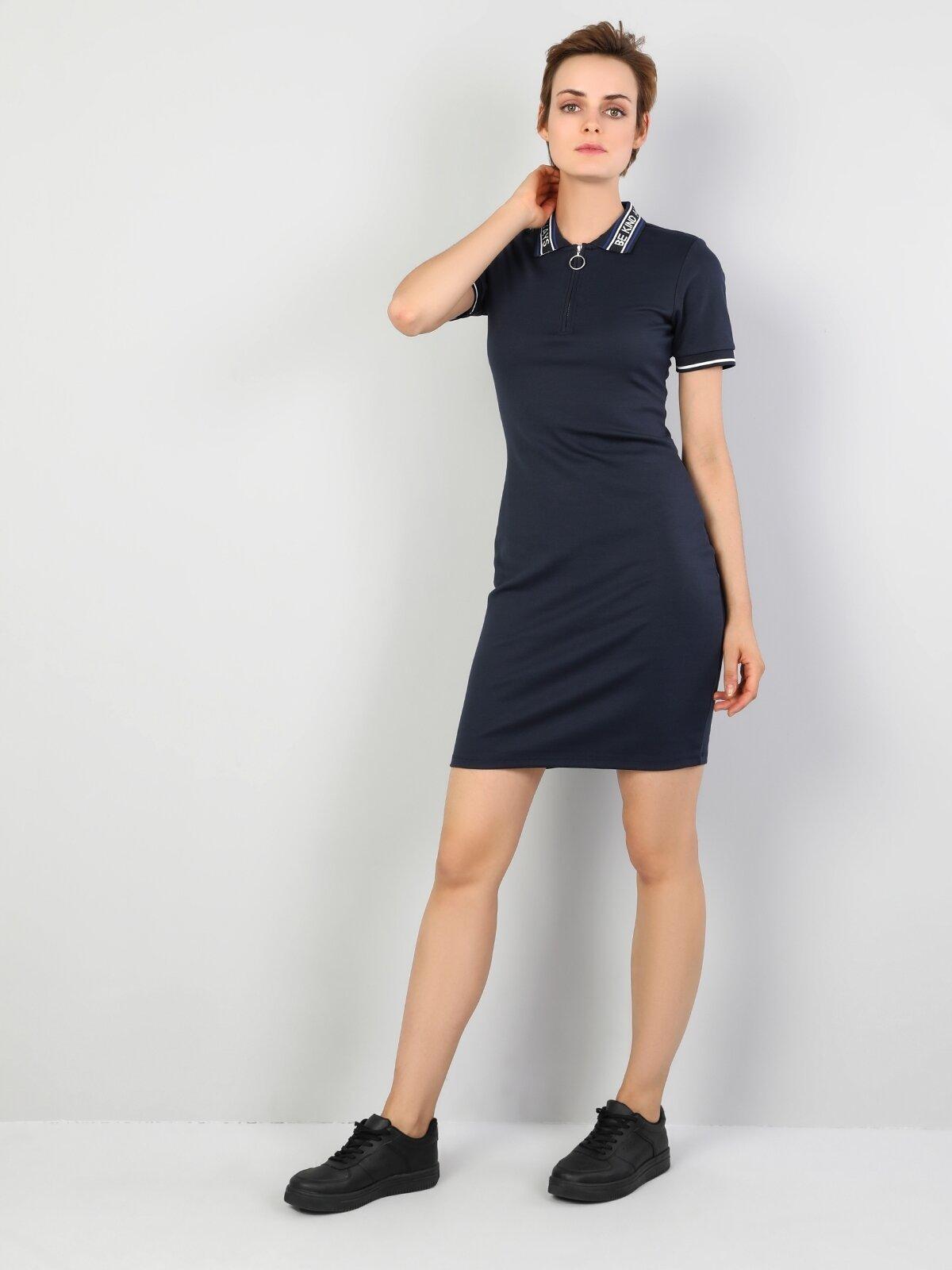 Slim Fit  Kadın Koyu Lacivert Elbise