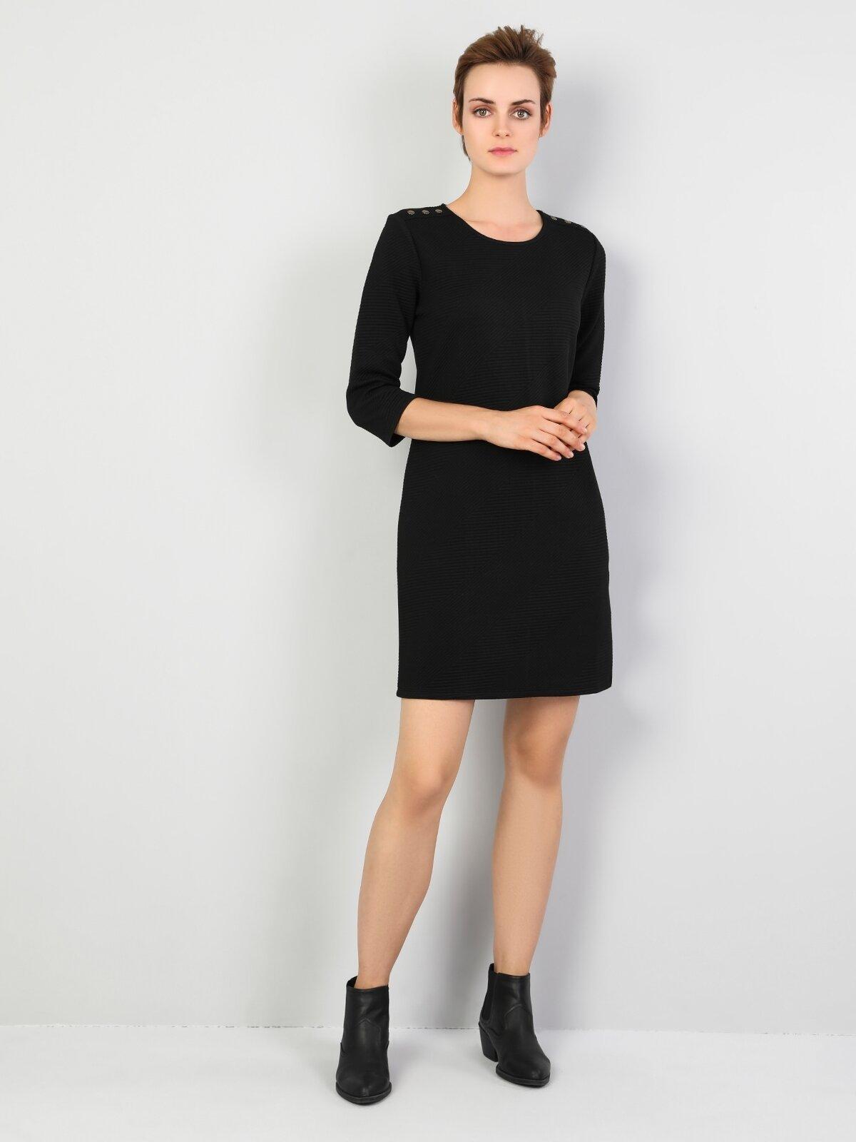 Regular Fit Düz Mini Siyah Elbise