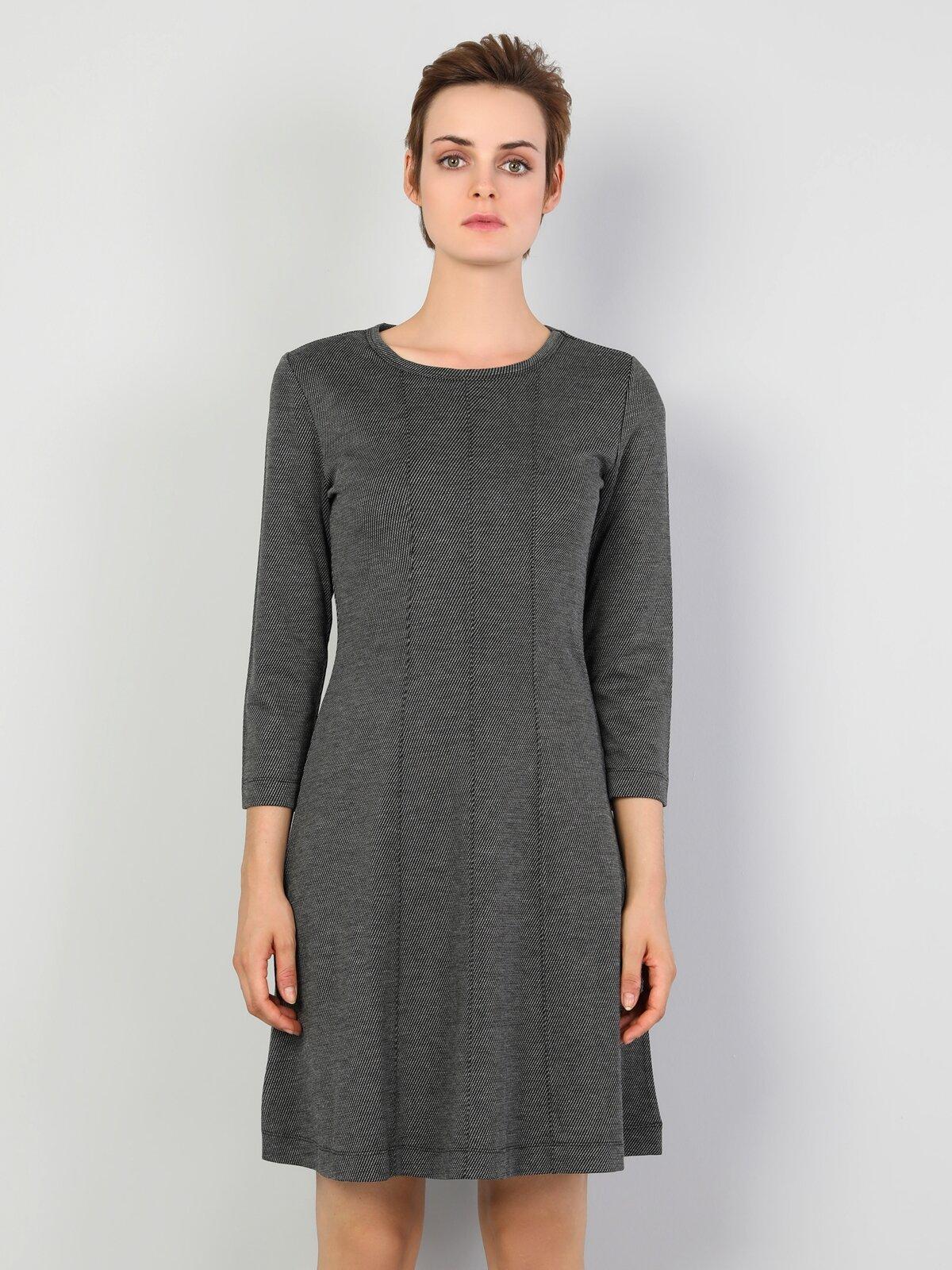 Slim Fit  Kadın Antrasit Elbise