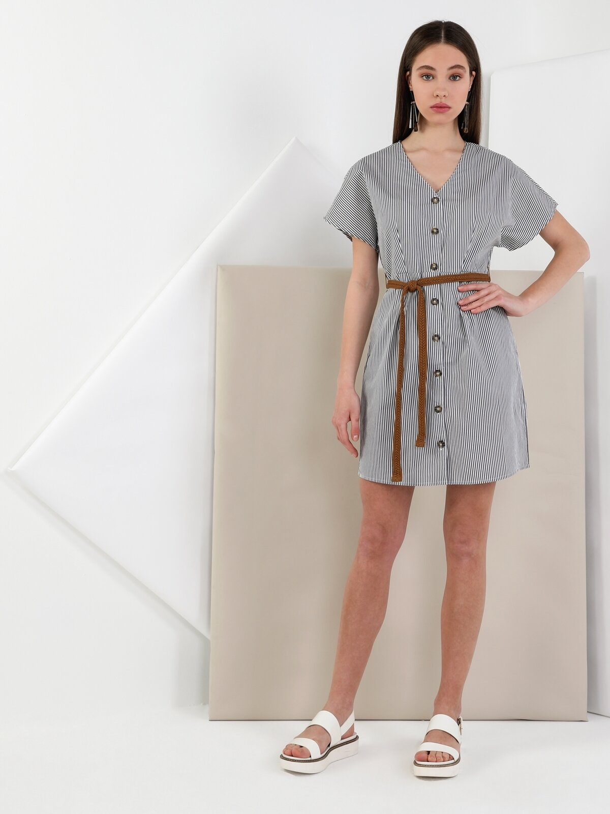 Slim Fit  Kadın Lacivert Elbise