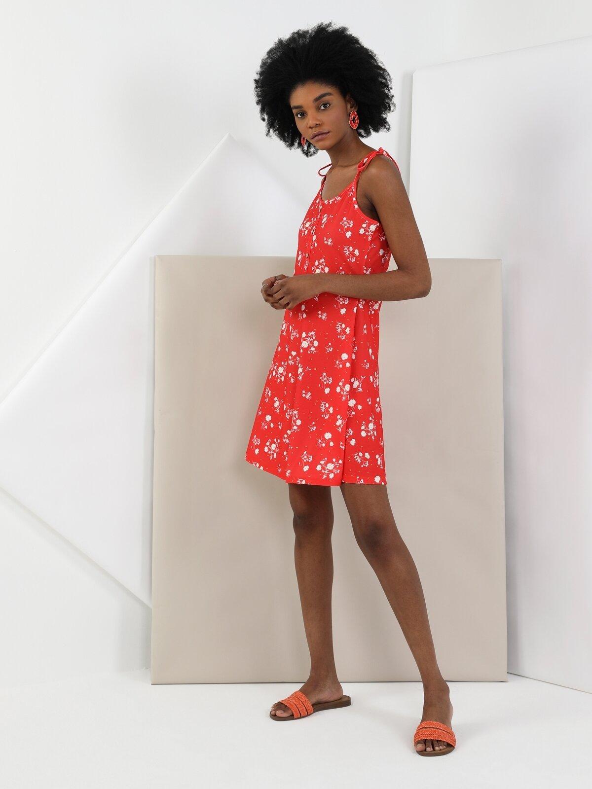 Regular Fit Kısa Kolkırmızı Kadın Elbise