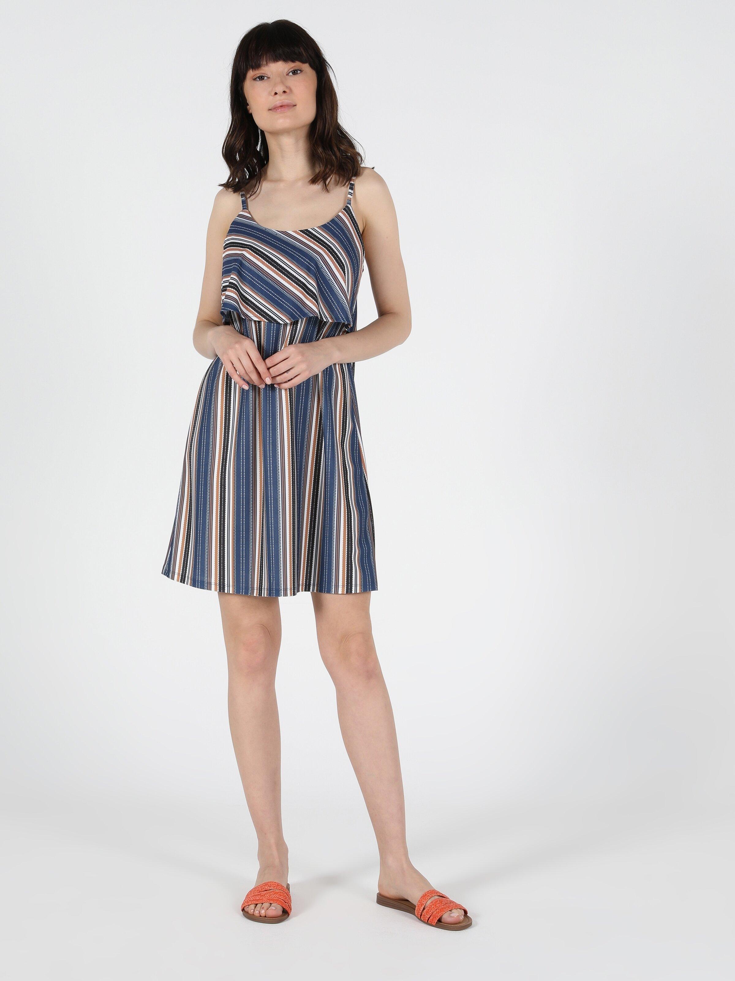 Regular Fit Kısa Kol Çok Renkli Kadın Elbise