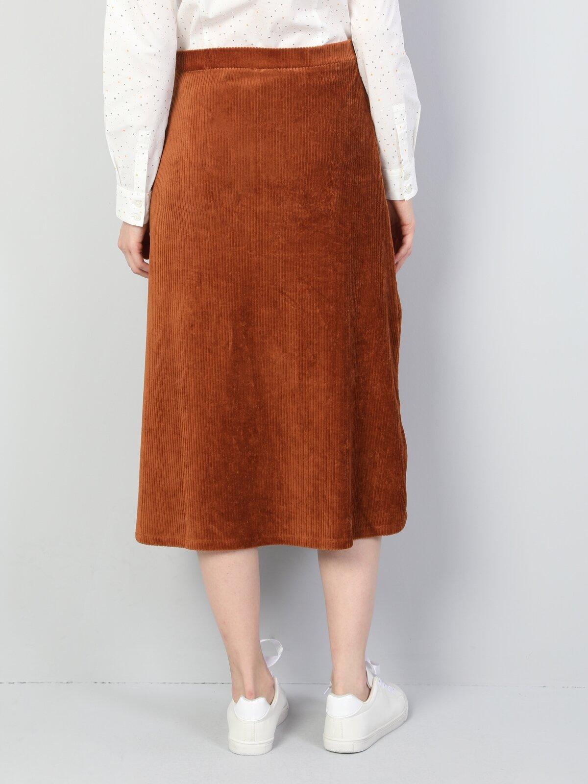 Regular Fit Kadife Kahverengi Kadın Etek