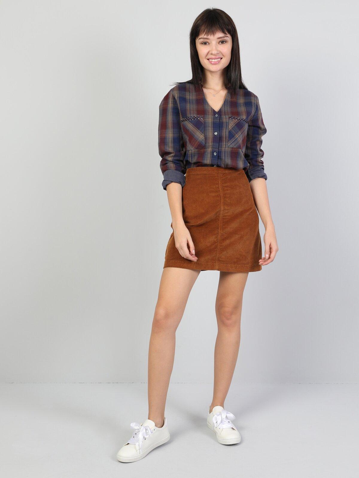 Kahverengi Mini Kadın Etek