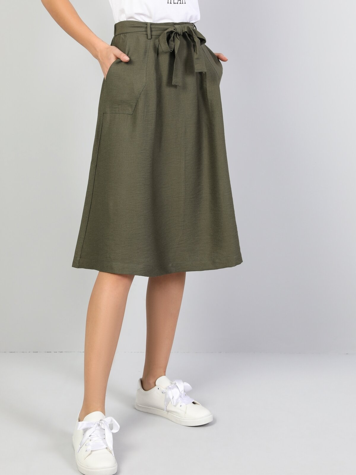 Midi Skirt  Kadın Haki Etek