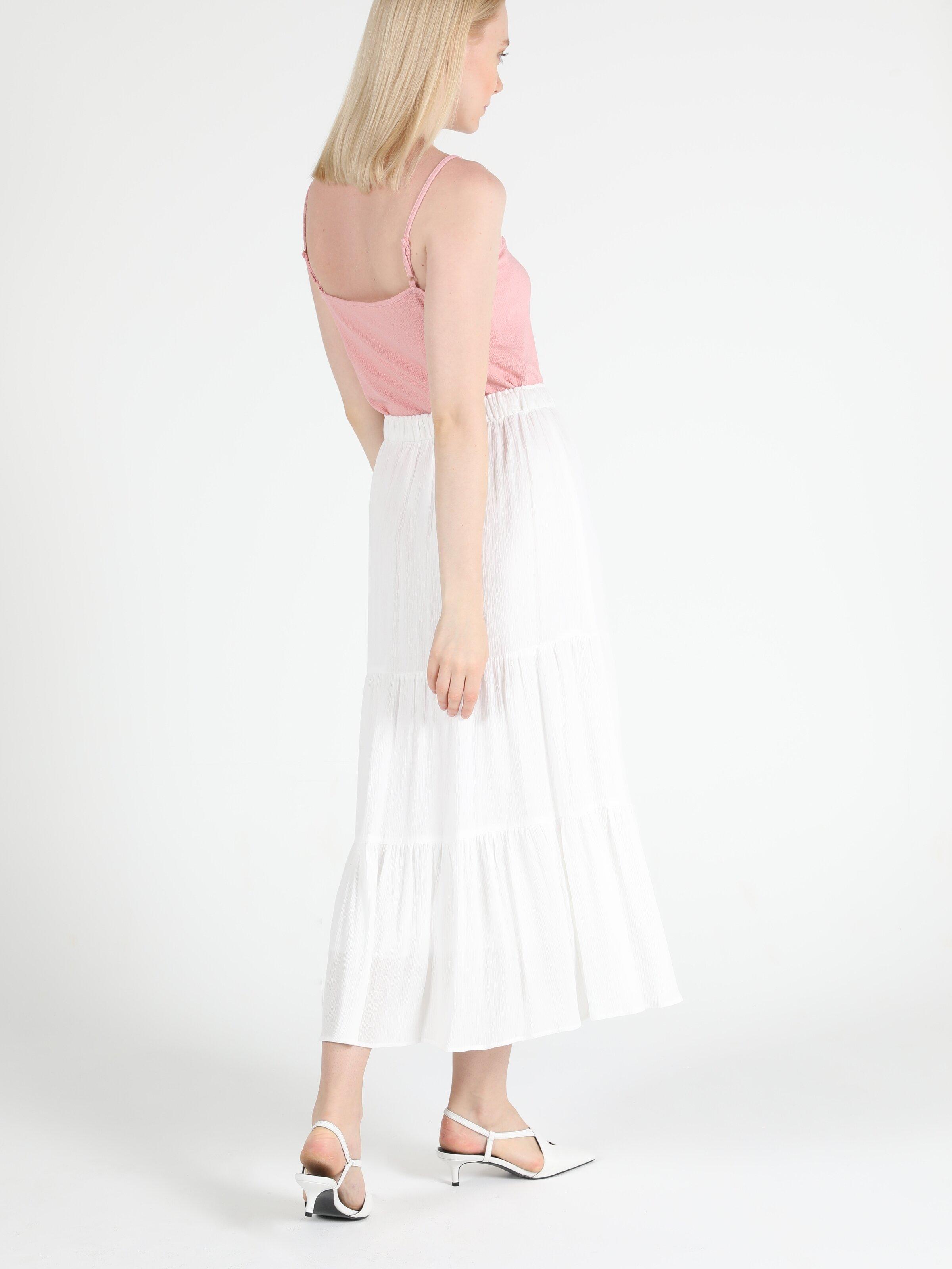 Maxi Length Kadın Beyaz Etek