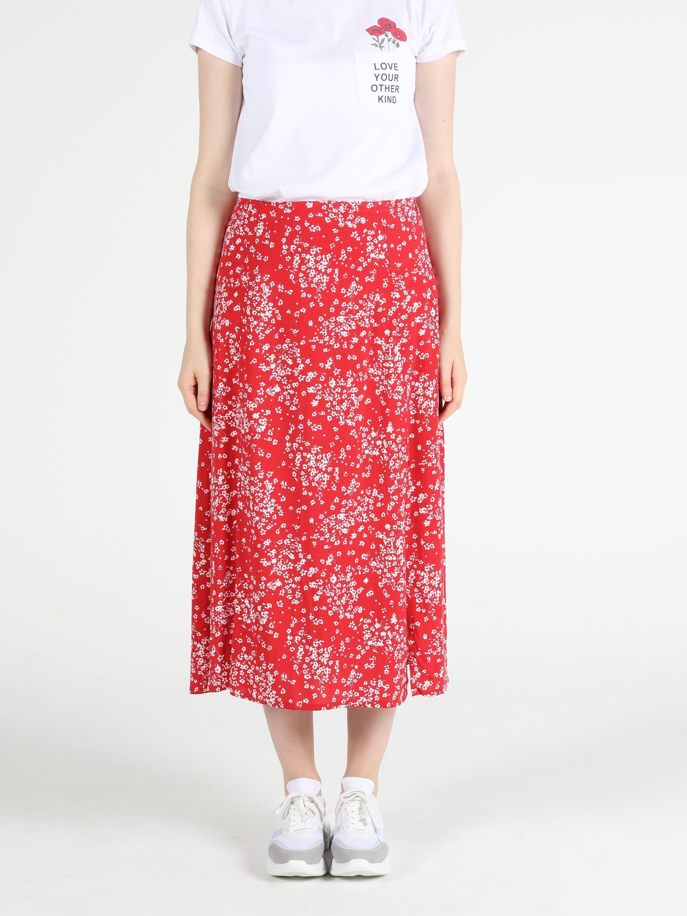 Midi Boy Kırmızı Çiçek Desenli Kadın Etek