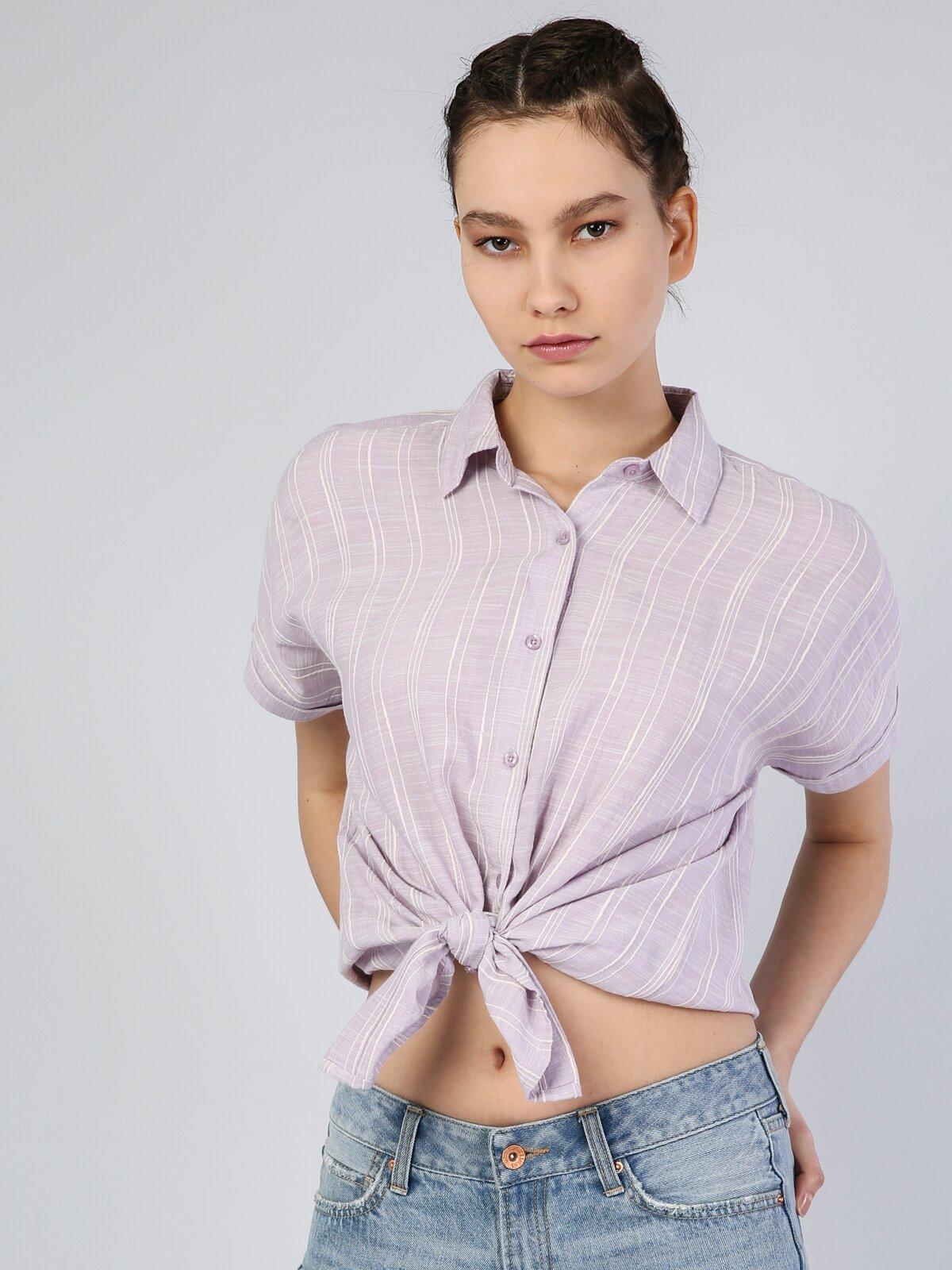 Lila Kısa Kol Gömlek
