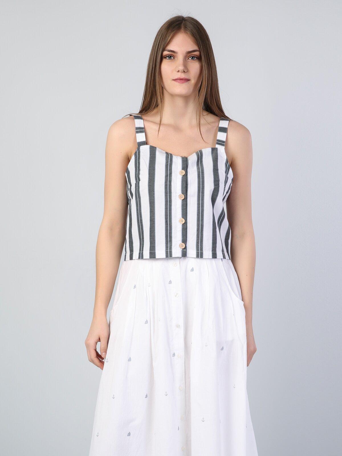 Slim Fit Kare Kadın İndigo Kısa Kol Gömlek