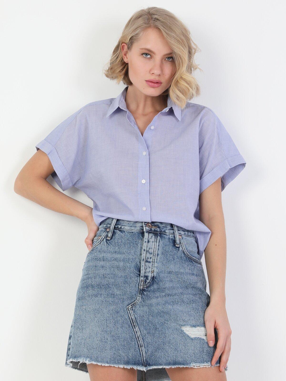 Regular Fit Shirt Neck Kadın Mavi Kısa Kol Gömlek