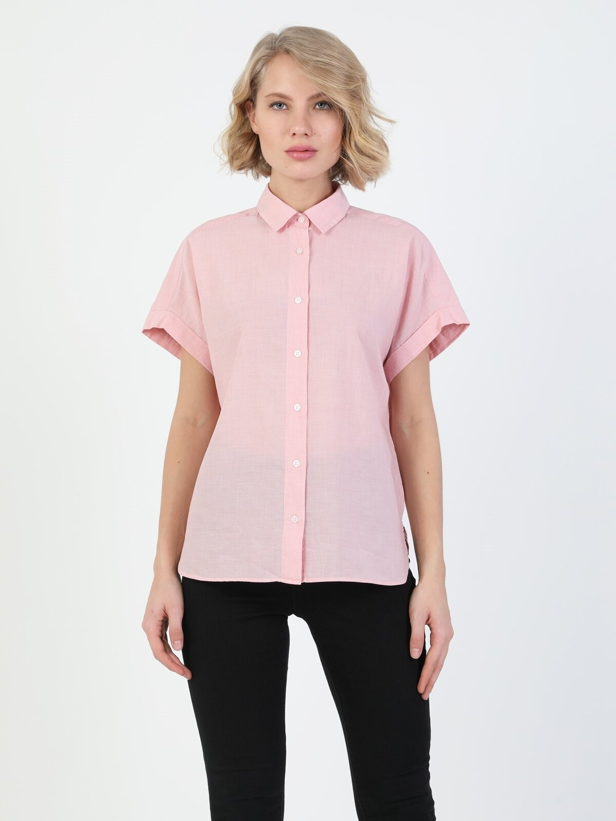 Regular Fit Shirt Neck Kadın Pembe Kısa Kol Gömlek