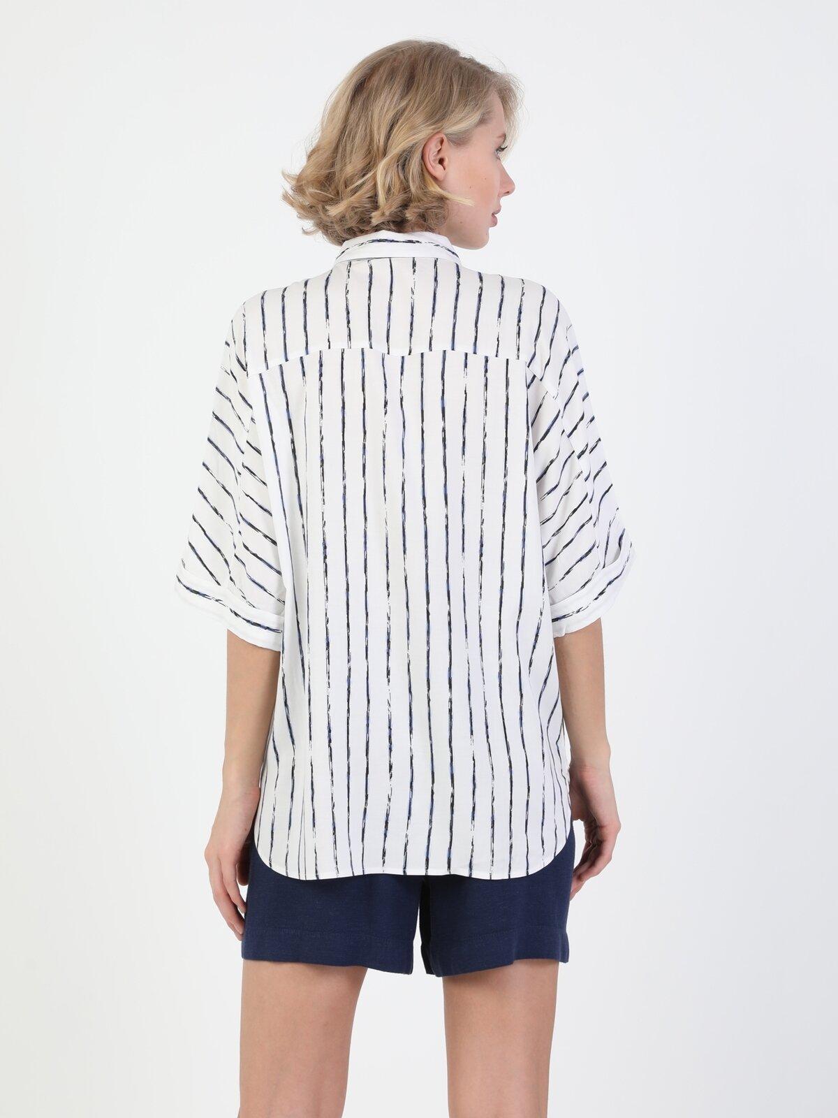 Blouse Shirt Neck Kadın Beyaz Kısa Kol Gömlek