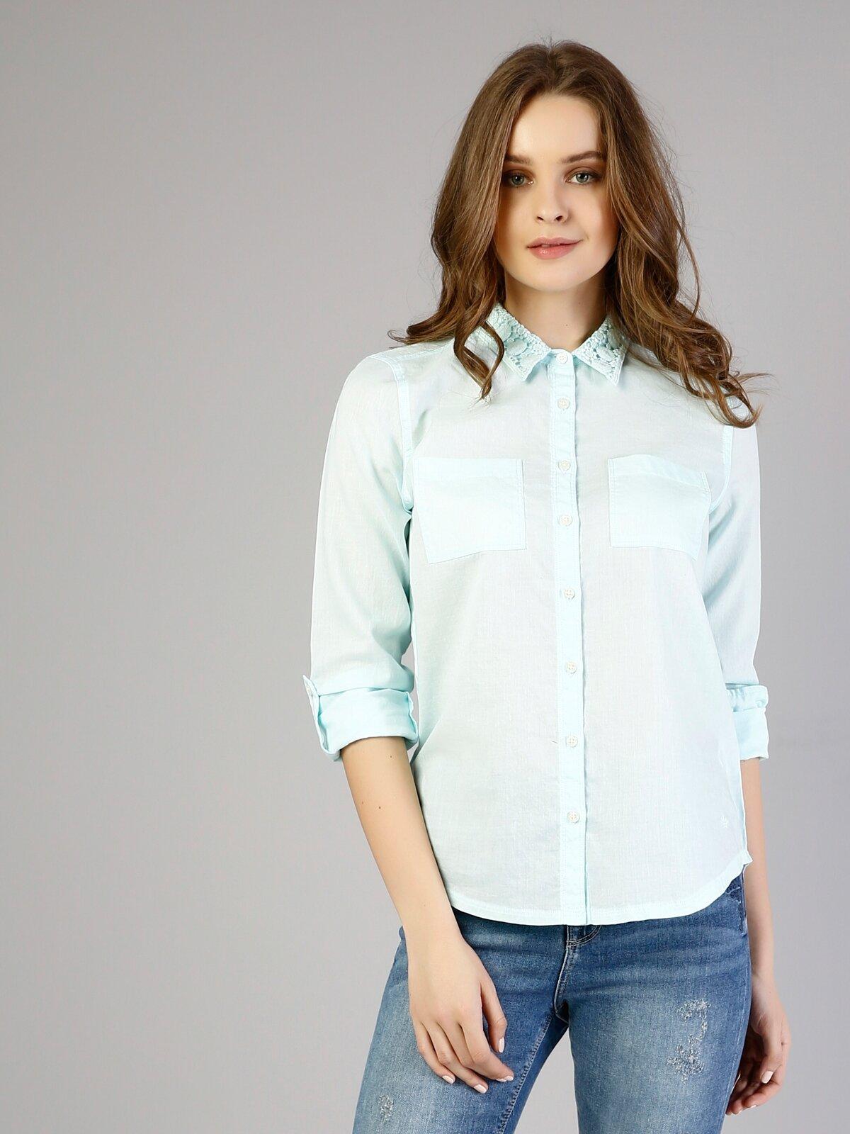 Slim Fit Shirt Neck Kadın Mint Yeşili Uzun Kol Gömlek