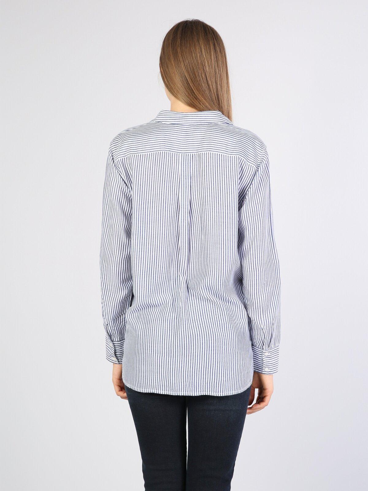 Klasik Yaka İndigo Uzun Kol Gömlek