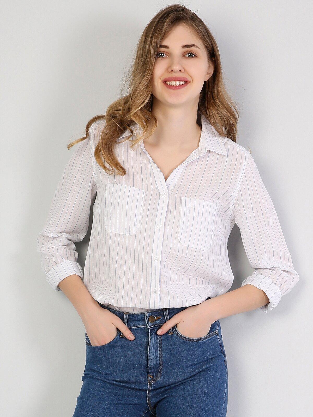 Regular Fit Shirt Neck Kadın Açık Mavi Uzun Kol Gömlek