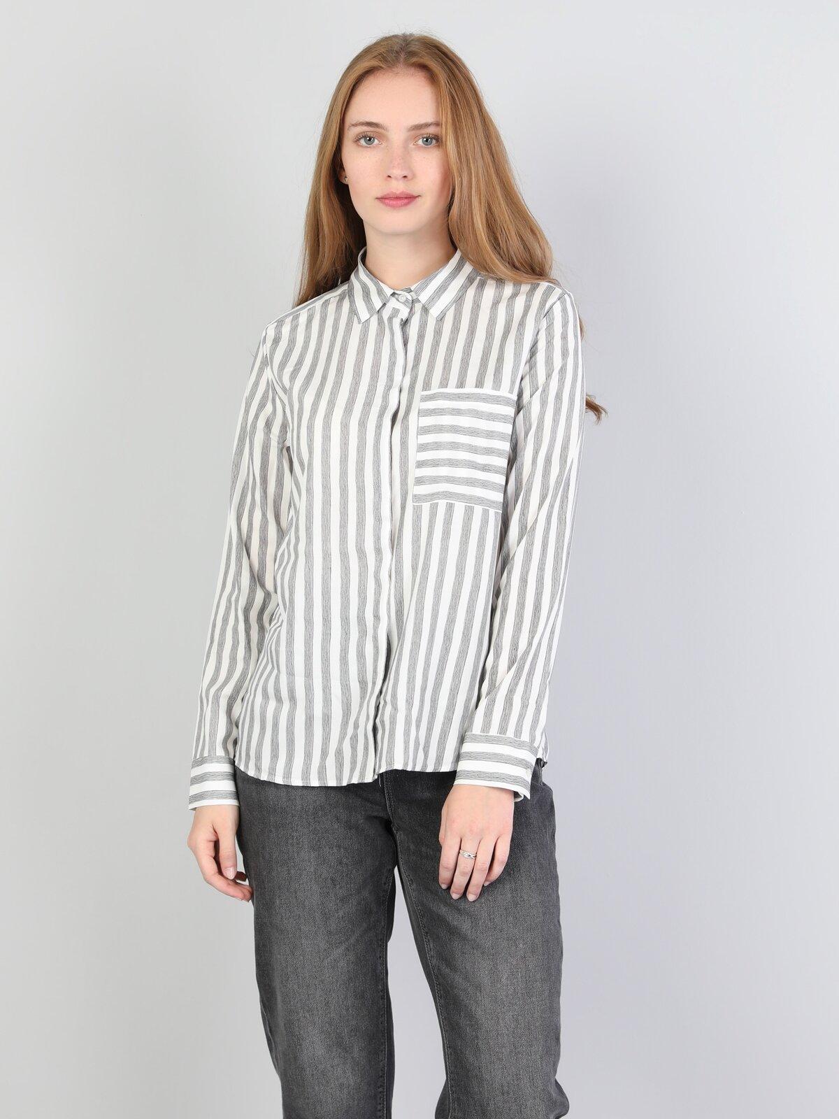 Regular Fit Shirt Neck Kadın Beyaz Uzun Kol Gömlek