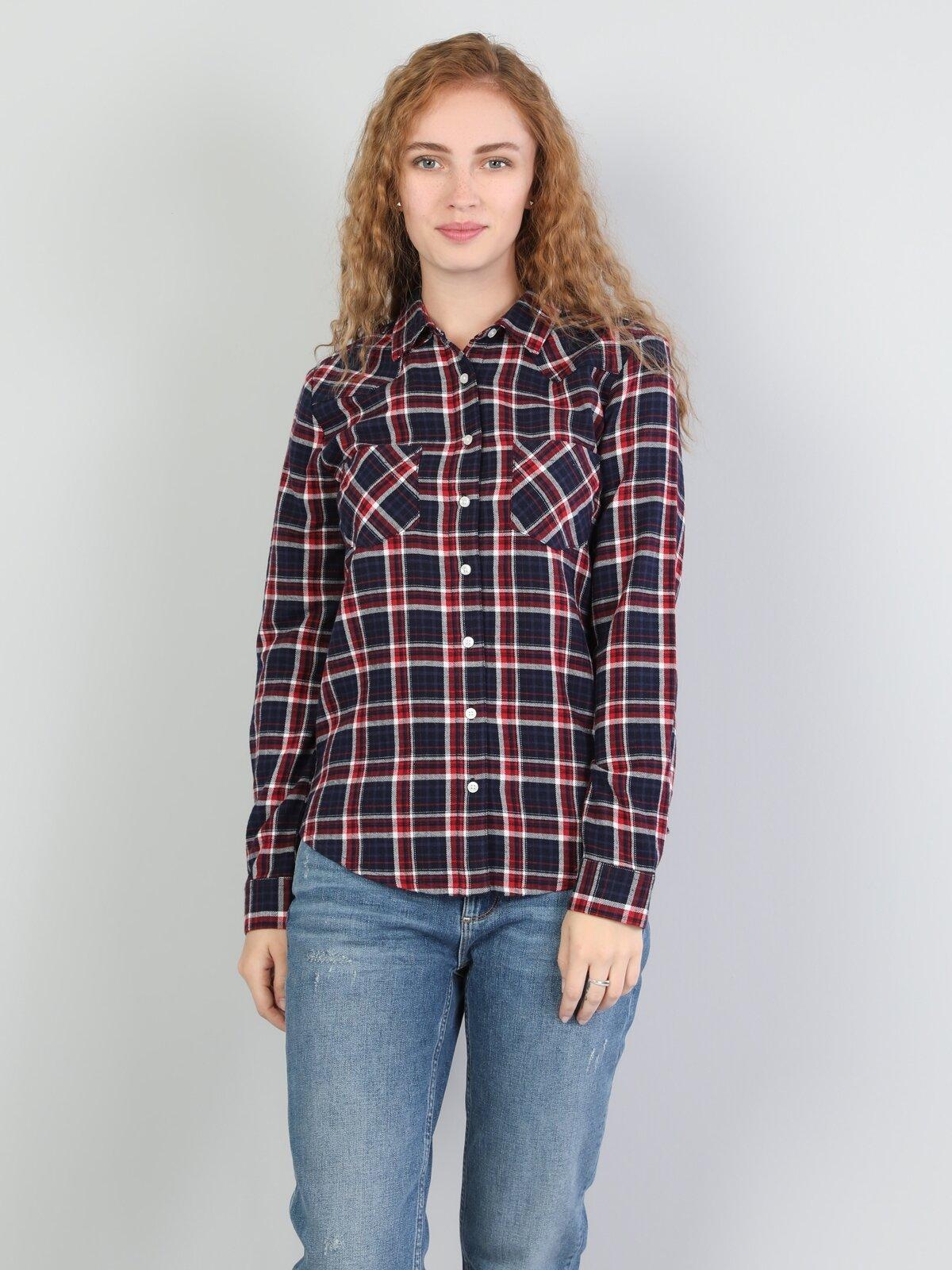Super Slim Fit Shirt Neck Kadın Lacivert Uzun Kol Gömlek
