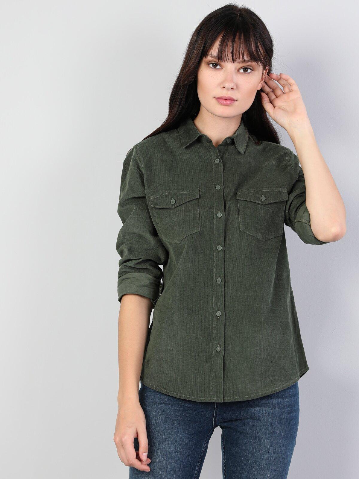 Dar Kesim Yeşil Kadın Uzun Kol Gömlek