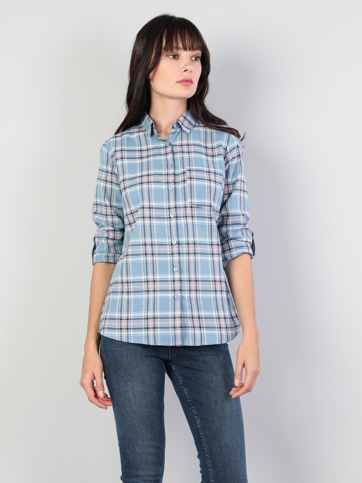 Super Slim Fit Shirt Neck Kadın Mavi Uzun Kol Gömlek