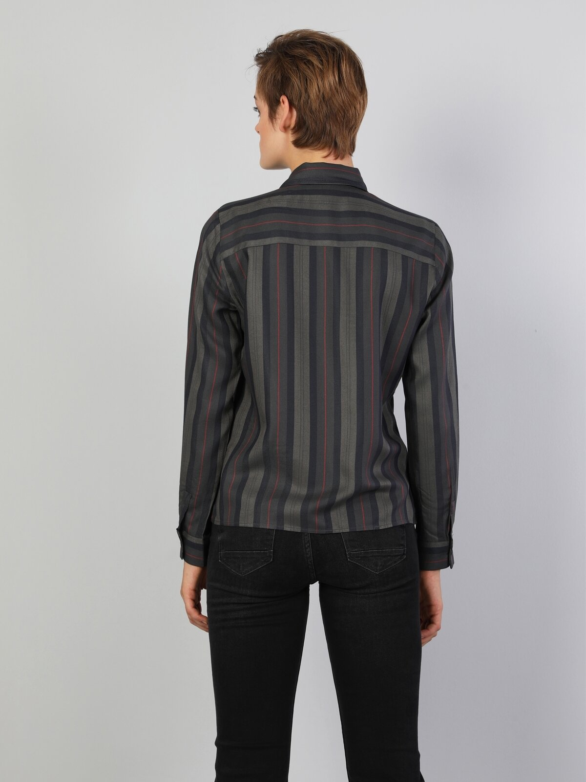 Slim Fit Shirt Neck Kadın Haki Uzun Kol Gömlek