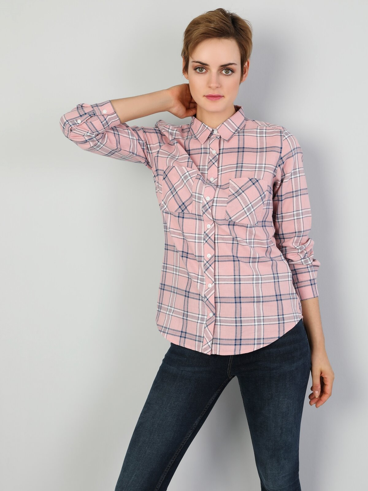 Super Slim Fit Shirt Neck Kadın Pembe Uzun Kol Gömlek