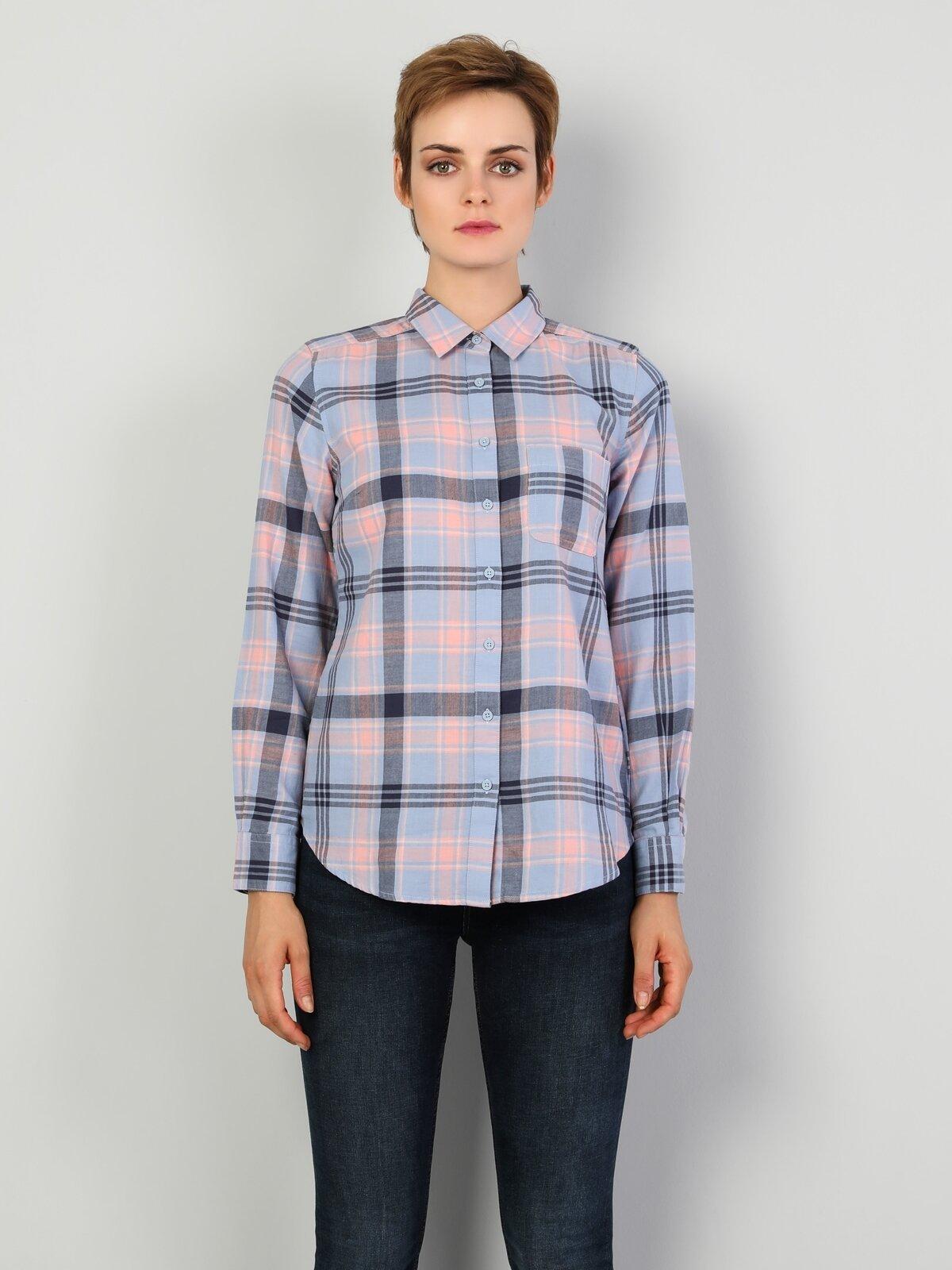Super Slim Fit Standart Kol V Yaka Mavi Kadın Gömlek Uzun Kol