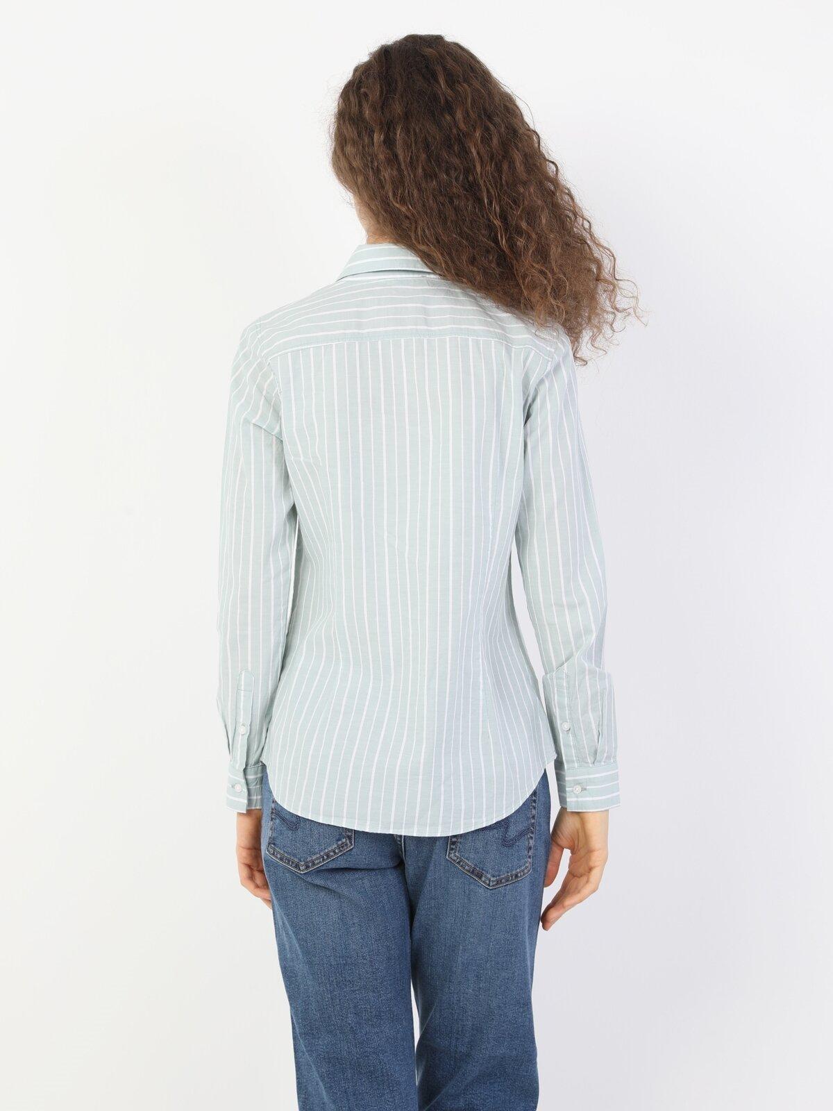 Super Slim Fit Shirt Neck Kadın Mint Yeşili Uzun Kol Gömlek
