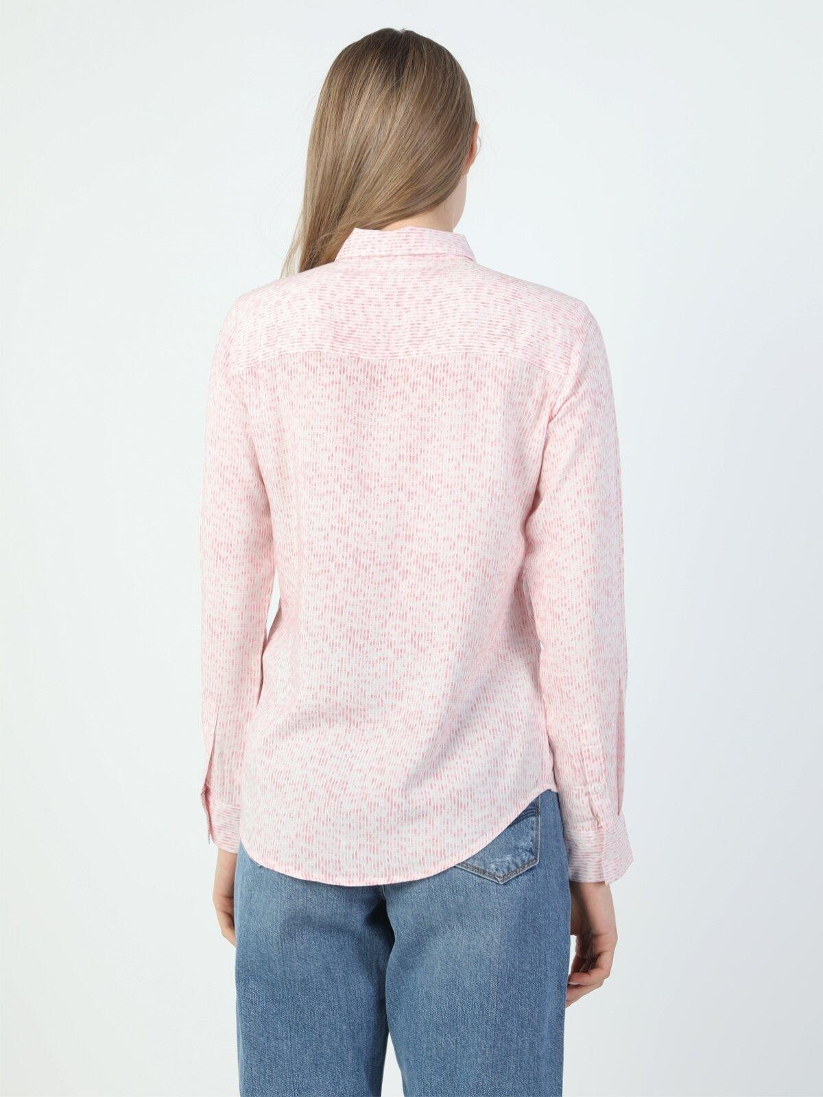 Slim Fit Shirt Neck Kadın Mercan Uzun Kol Gömlek