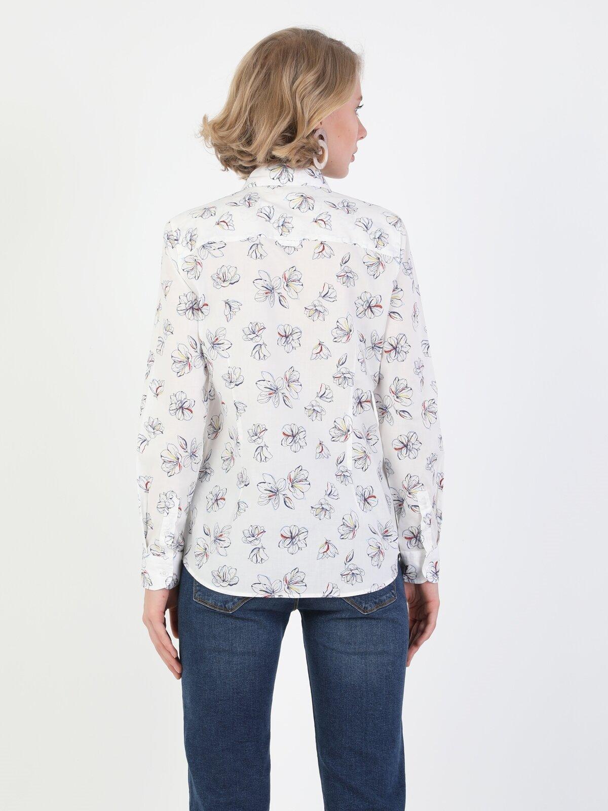 Süper Slim Fit-Stretch Shirt Neck Kadın Beyaz Uzun Kol Gömlek