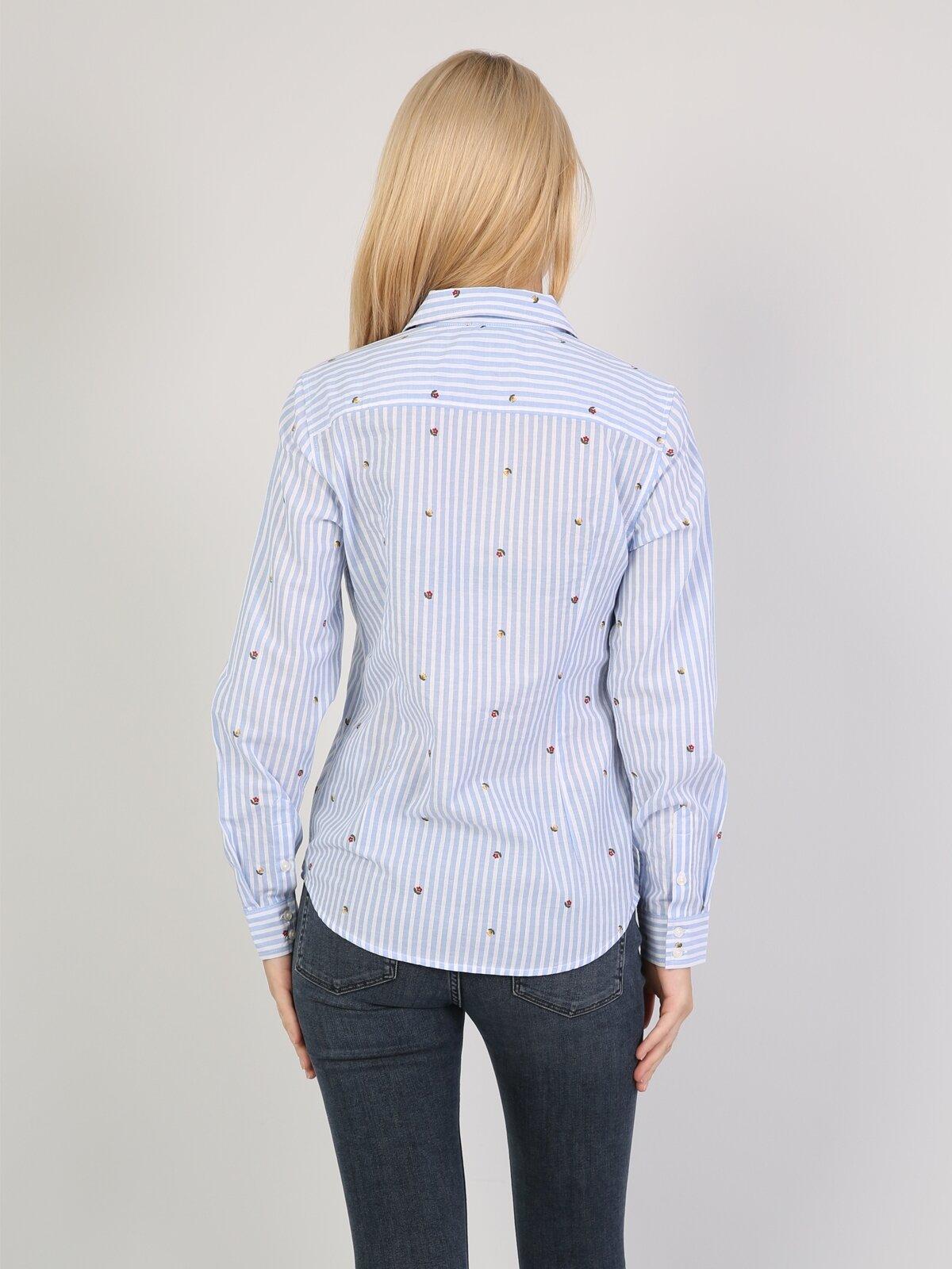 Super Slim Fit Kadın Mavi Uzun Kol Gömlek