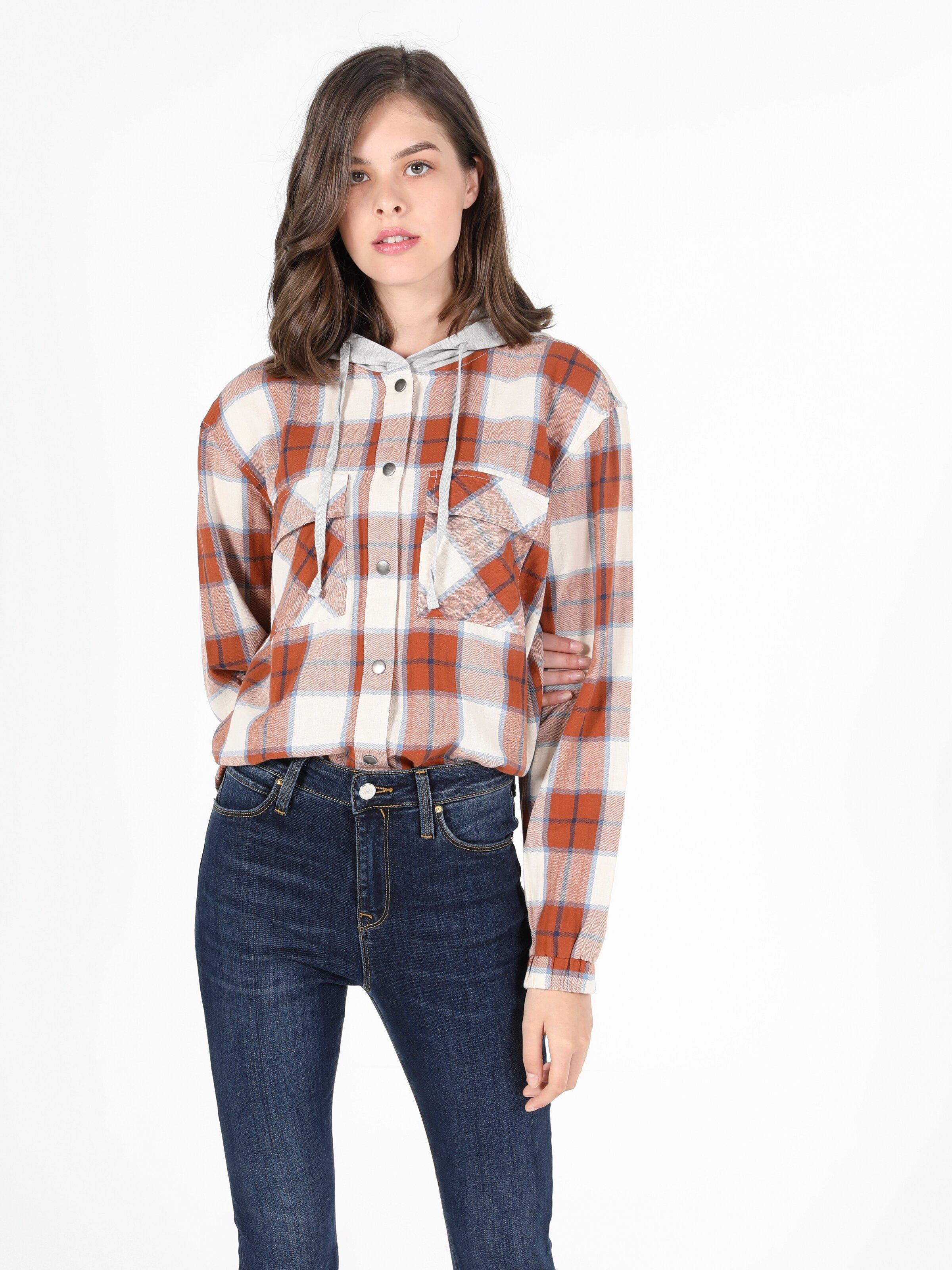 Regular Fit Hooded Kadın Tarçın Uzun Kol Gömlek